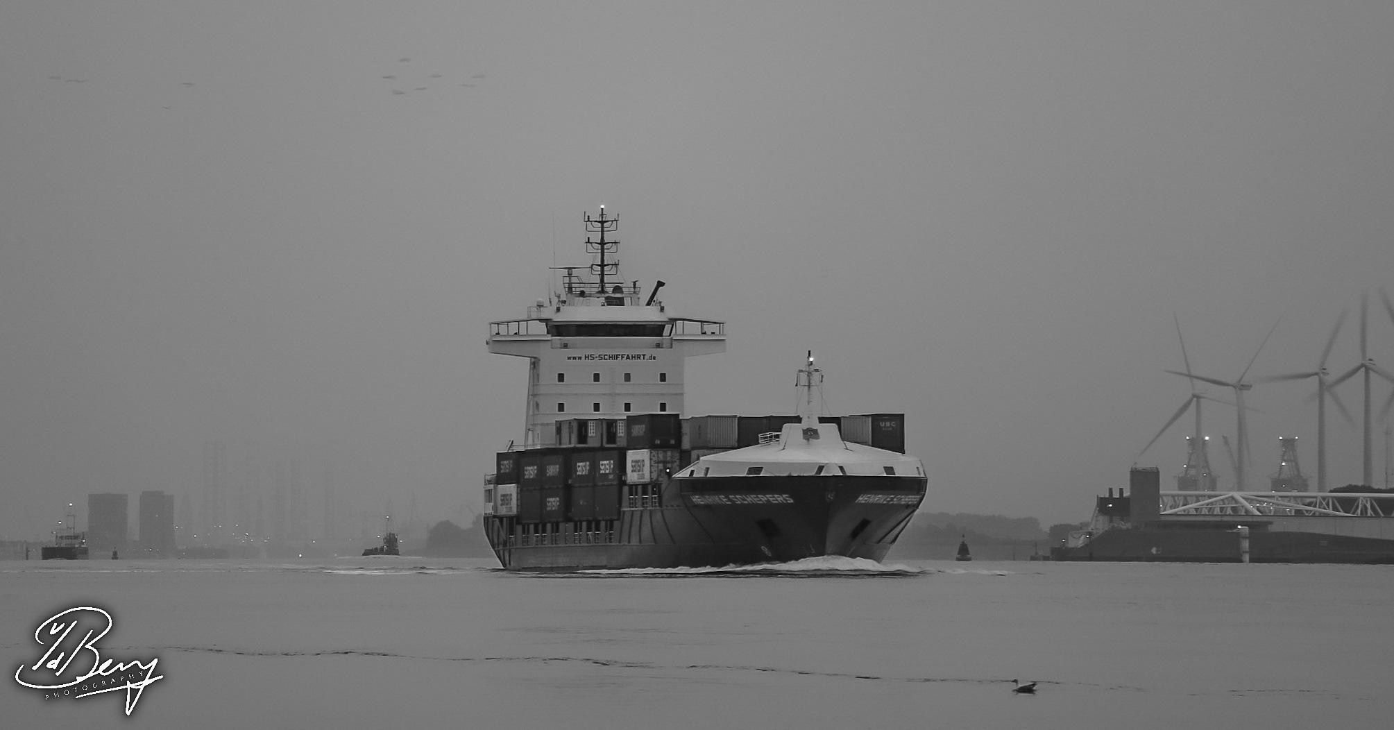 Boat leaving port of Rotterdam. by Sebastiaan van den Berg