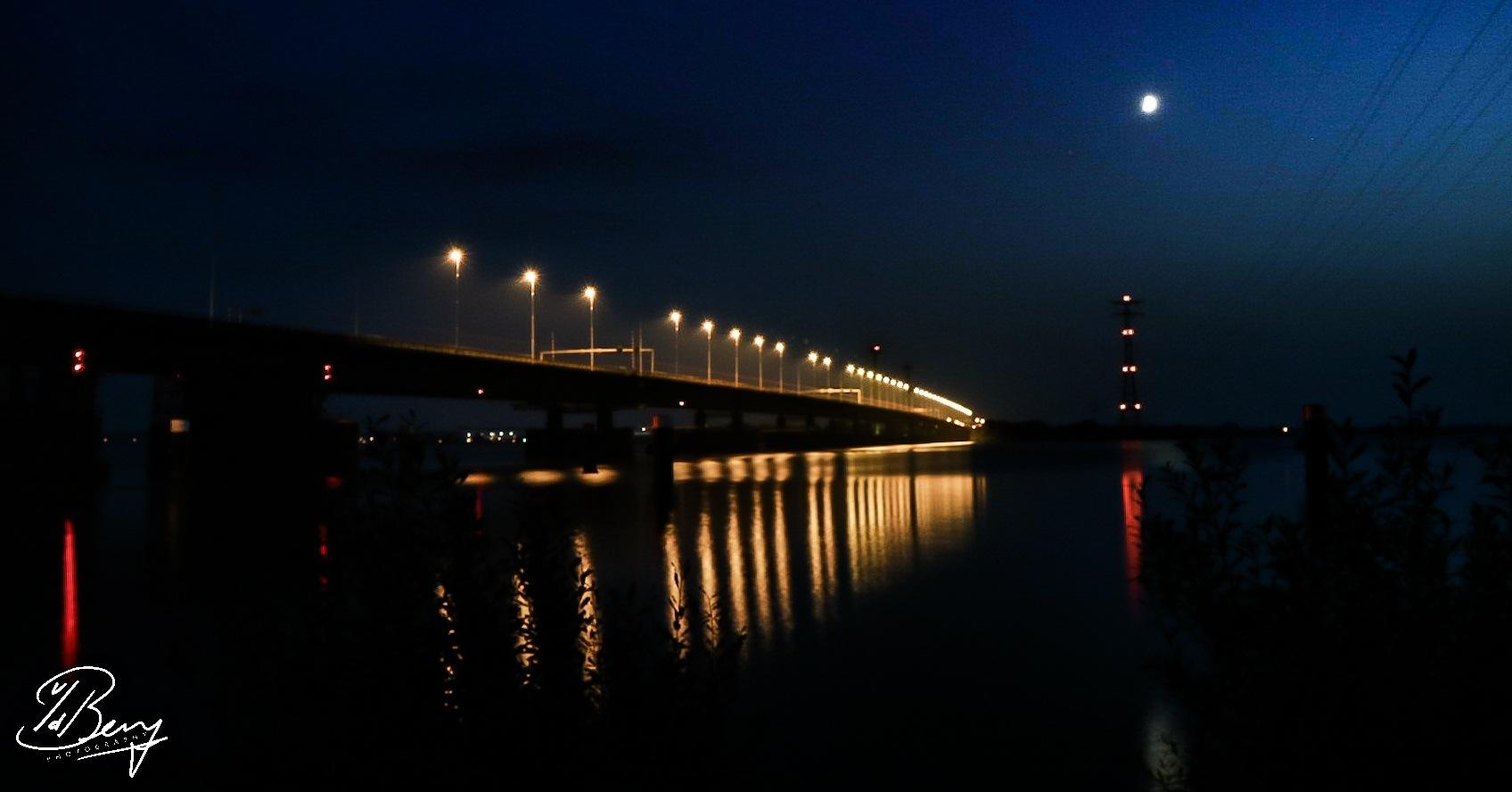bridge by night by Sebastiaan van den Berg