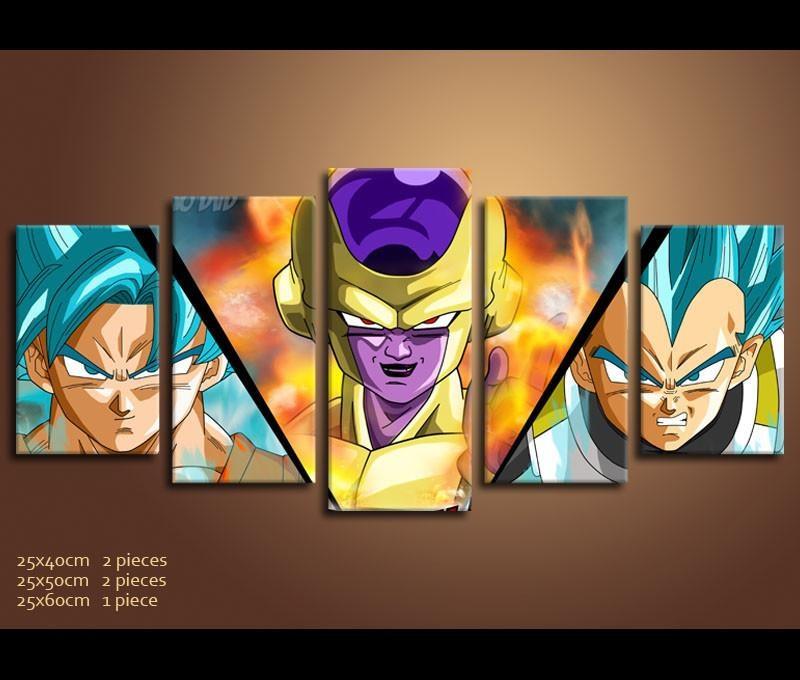 5 Piece Canvas Art Dragon Ball Z Anime Canvas Wall Art Decor by Awesom Ever