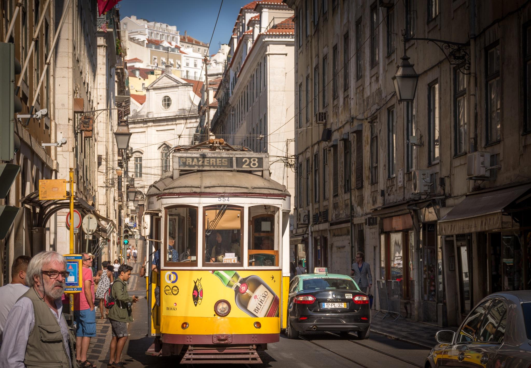 tram at Lisbon Lisboa Lissabon  by Christian Hofmann