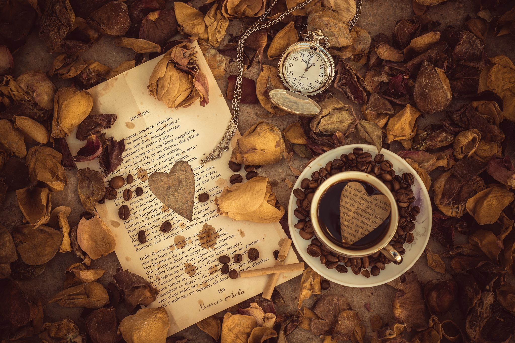 Photo in Still Life #love #quoets #coffee #letter #valentine's day #youpic #still life #photography #flowers #petals #dry flower