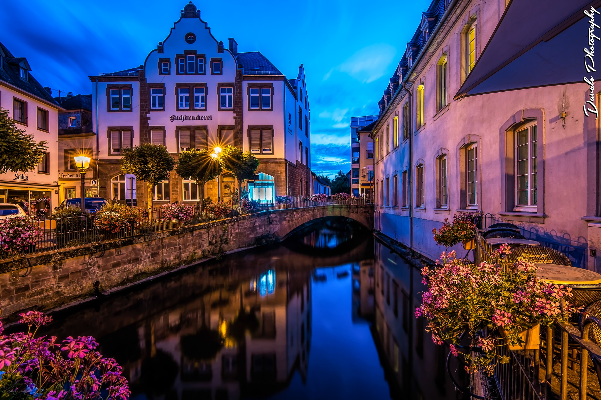 Saarburg City By Night by Davalo Photography