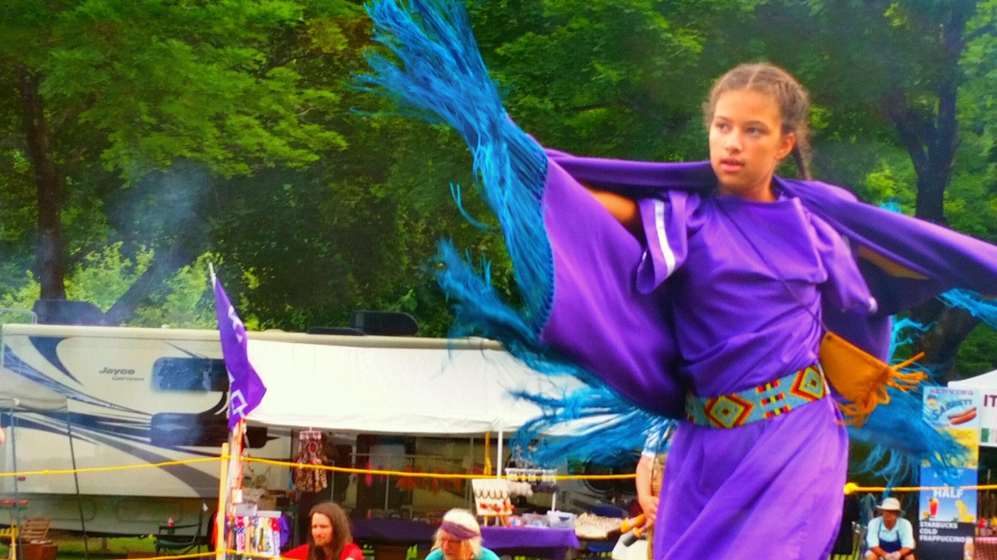 Fancy Shawl Dancer Dancing on Dew and Stardust by -Richard J. Treitner