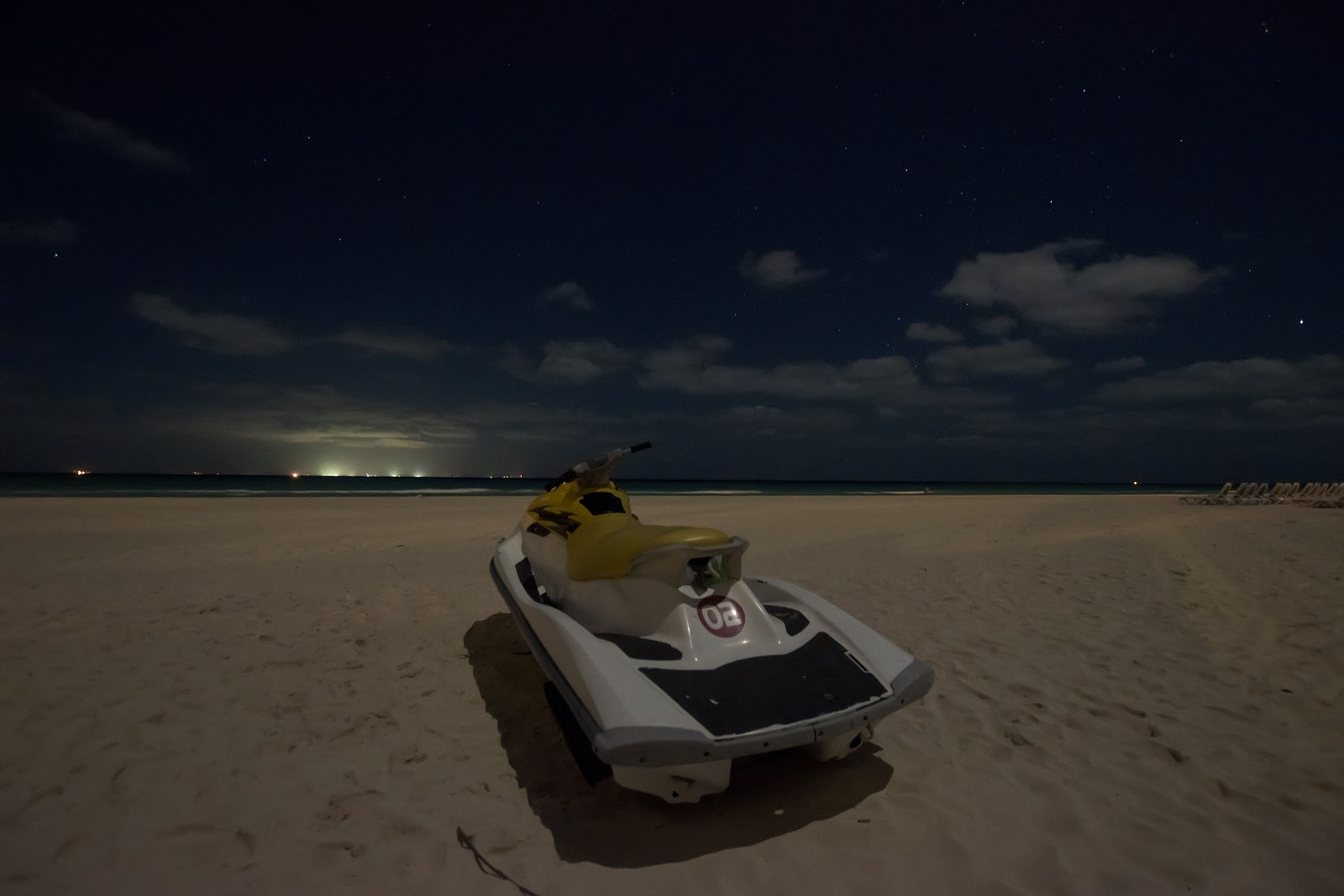 Night on the beach by Waldemar Sadlowski