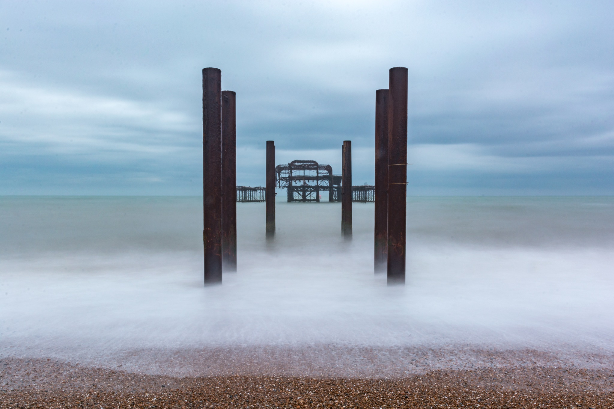 West Pier Remains by Mike Campbell