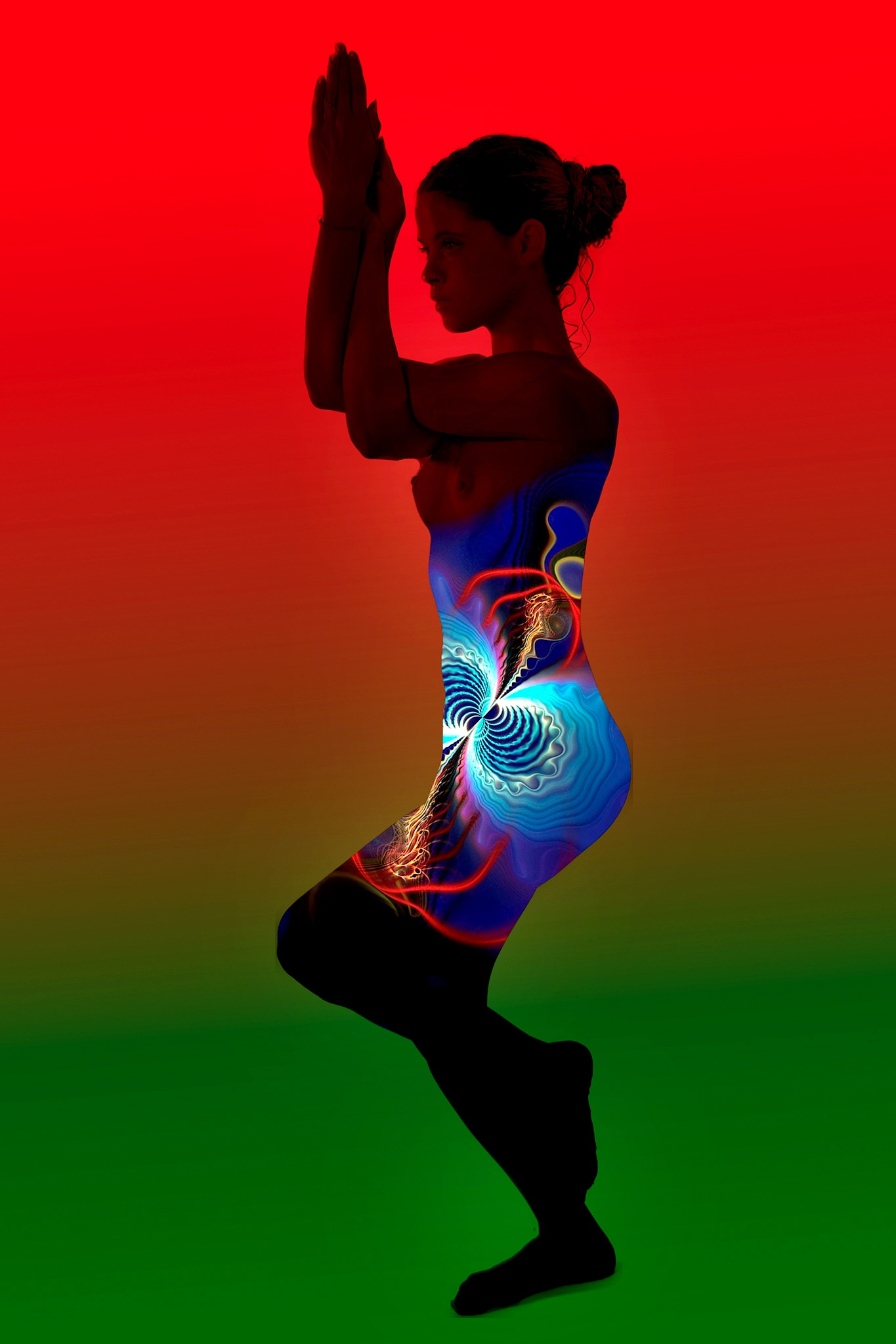 Silhouette of My Yoga dancer dressed with a Fractal by Rebecca Danieli
