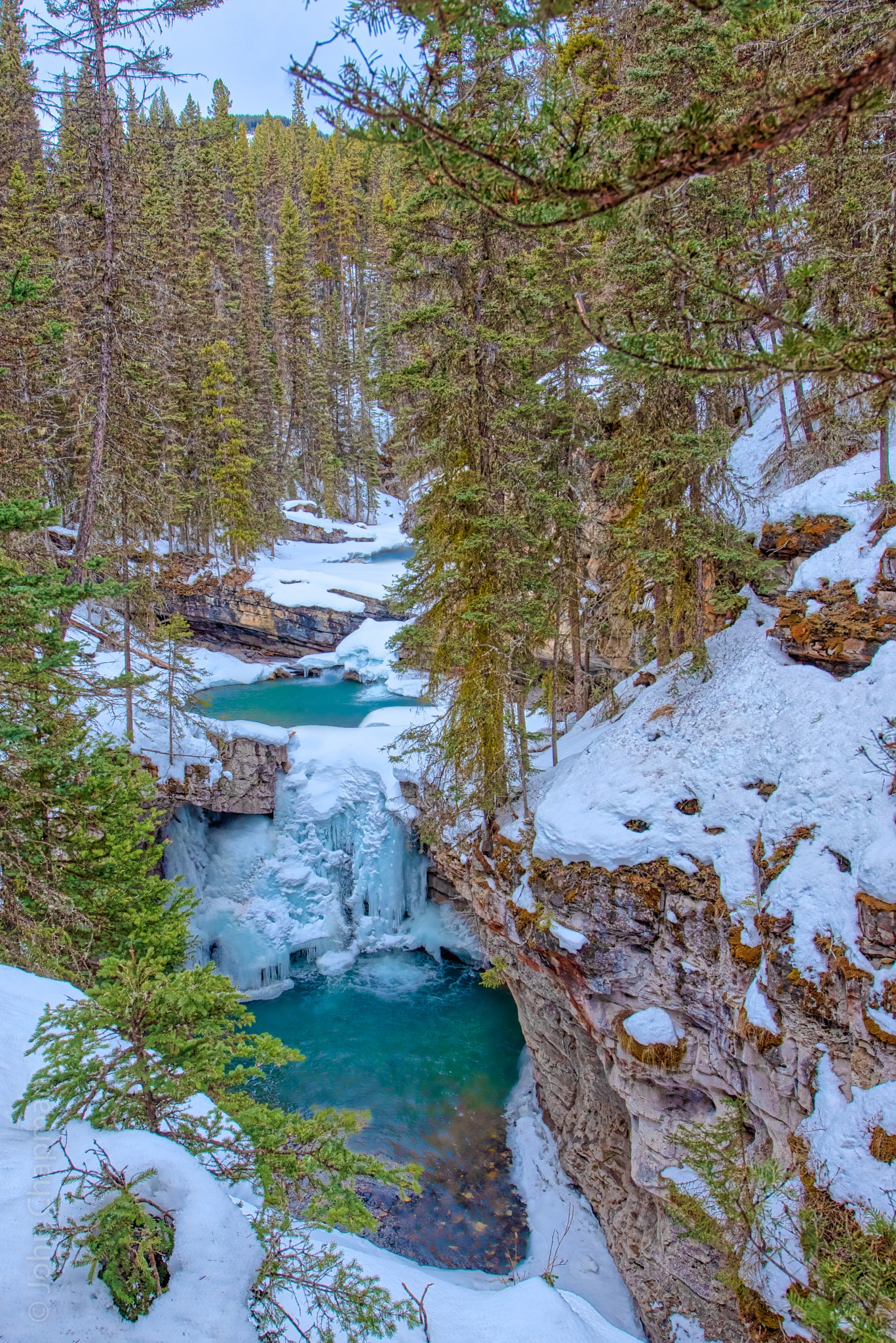 Frozen Twin Falls by John Chapman