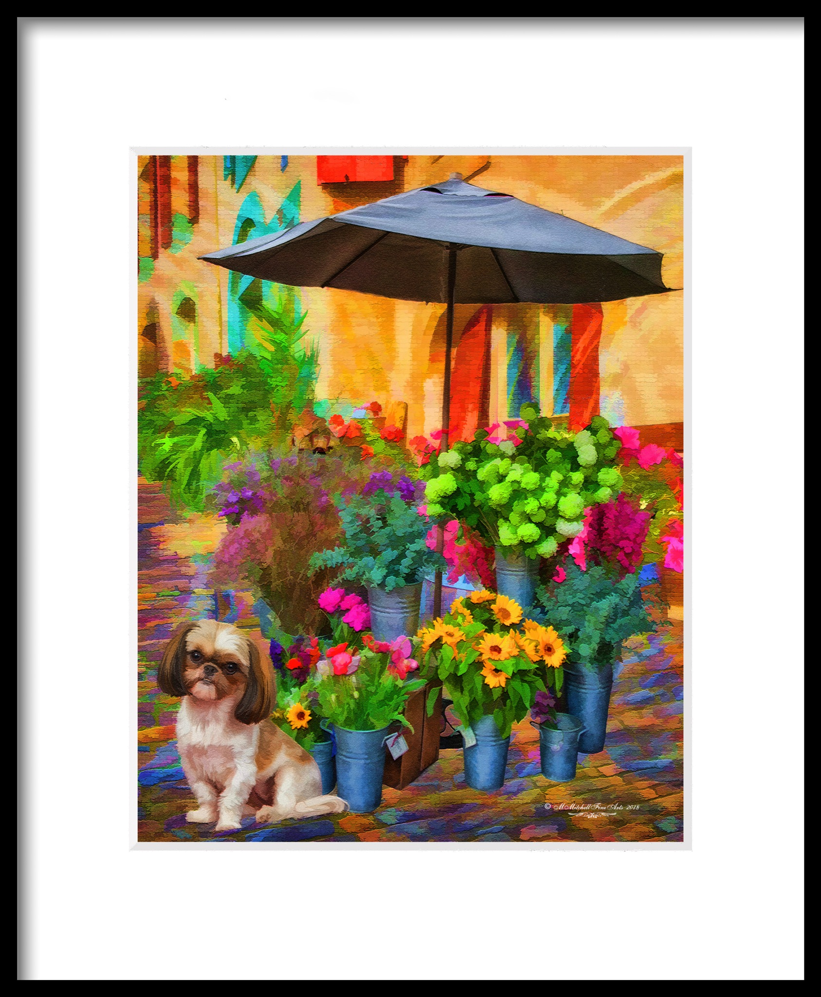 Flower Stand - Framed by Mary Mitchell