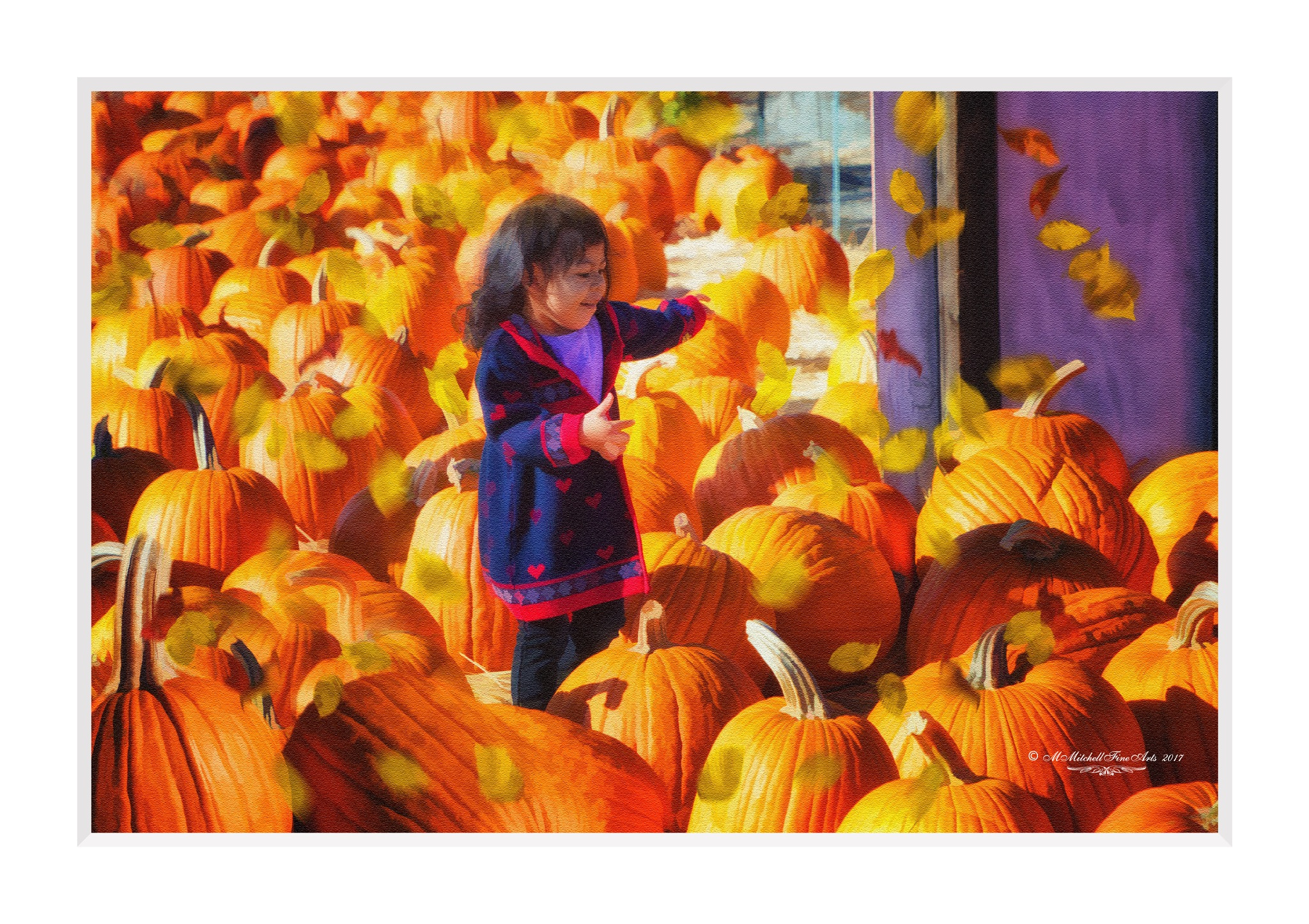 Playing Among the Pumpkins by Mary Mitchell