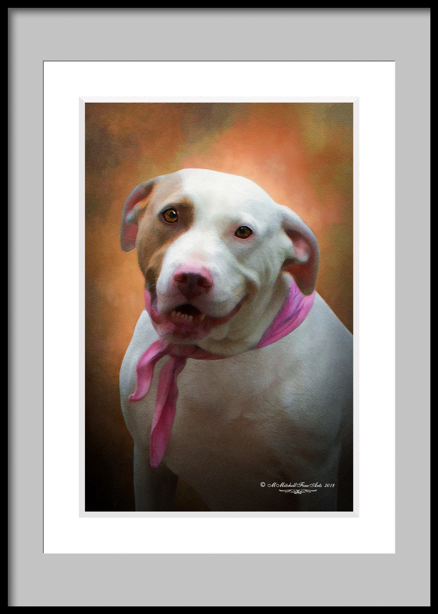 White Smiling Dog by Mary Mitchell