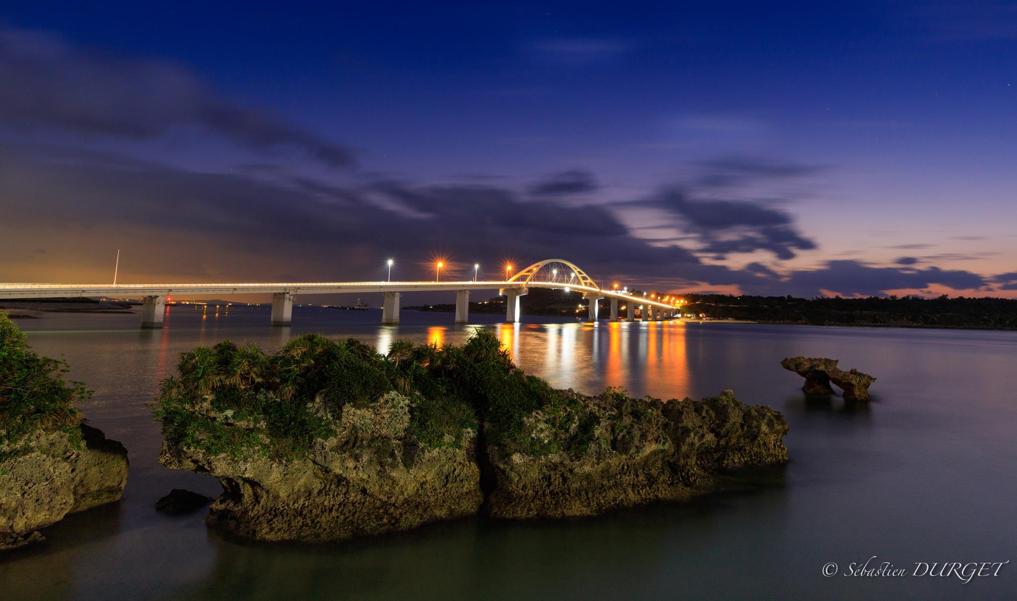 Blue hour on Bridge Okinawa by Sébastien
