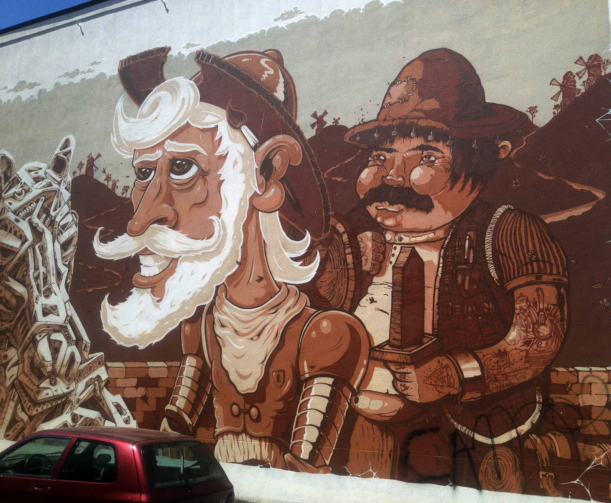 don quixote mural Porto by Ziffy