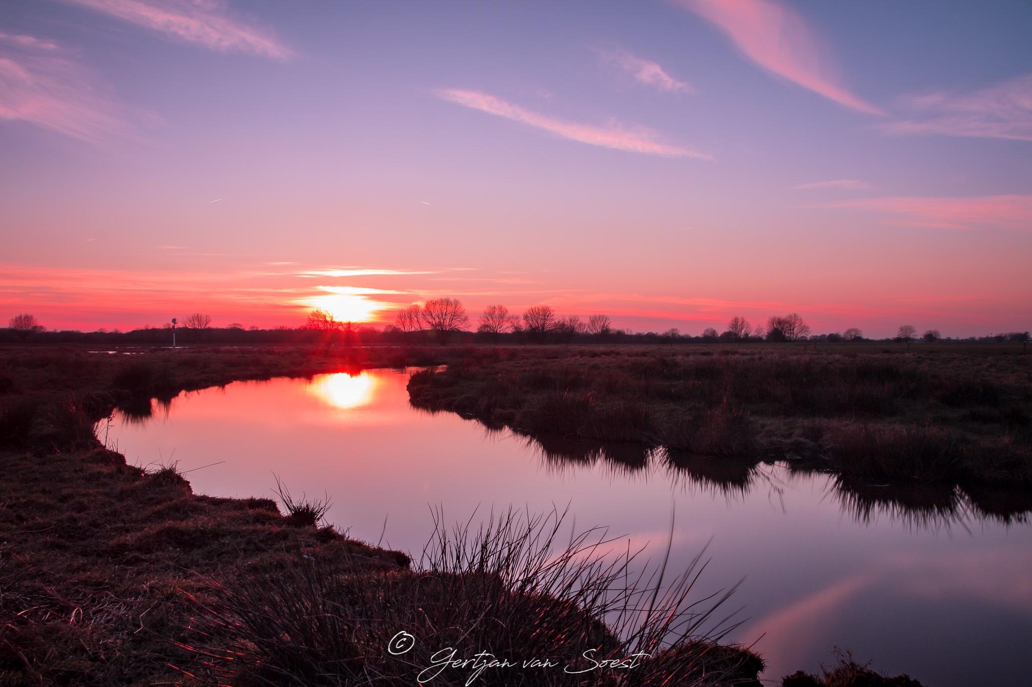 Sunset near the river Maas @ NP Maasduinen by Gertjan van Soest