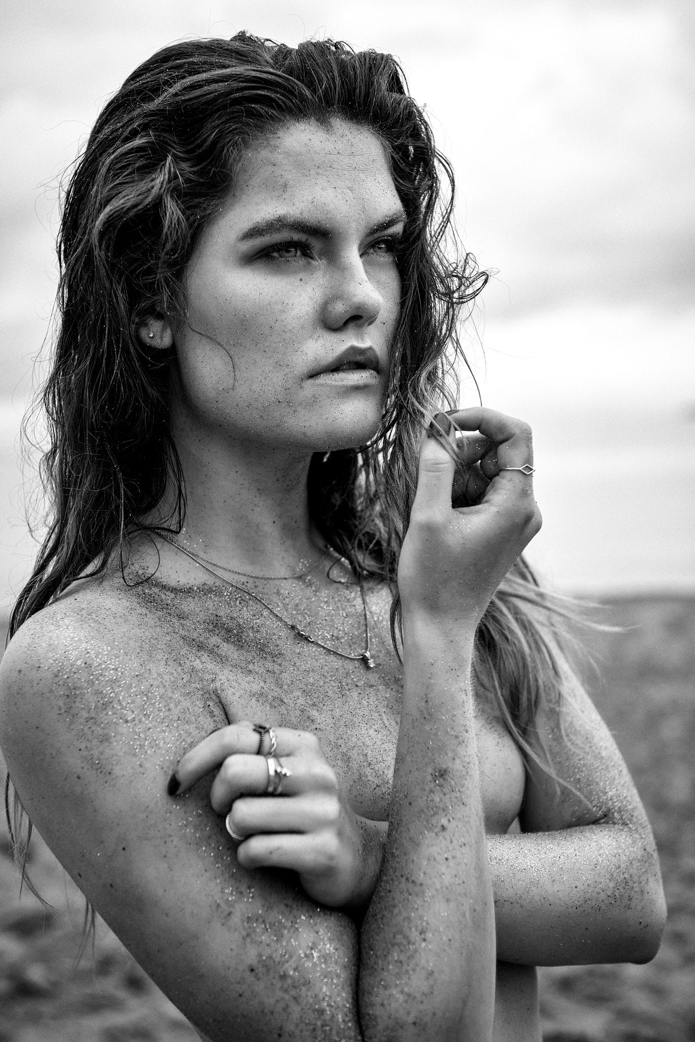 Photo in Portrait #beach #summer #black and white #sand #tan #hair #wet #model #girl #female #gorgeous #beautiful #jewelry