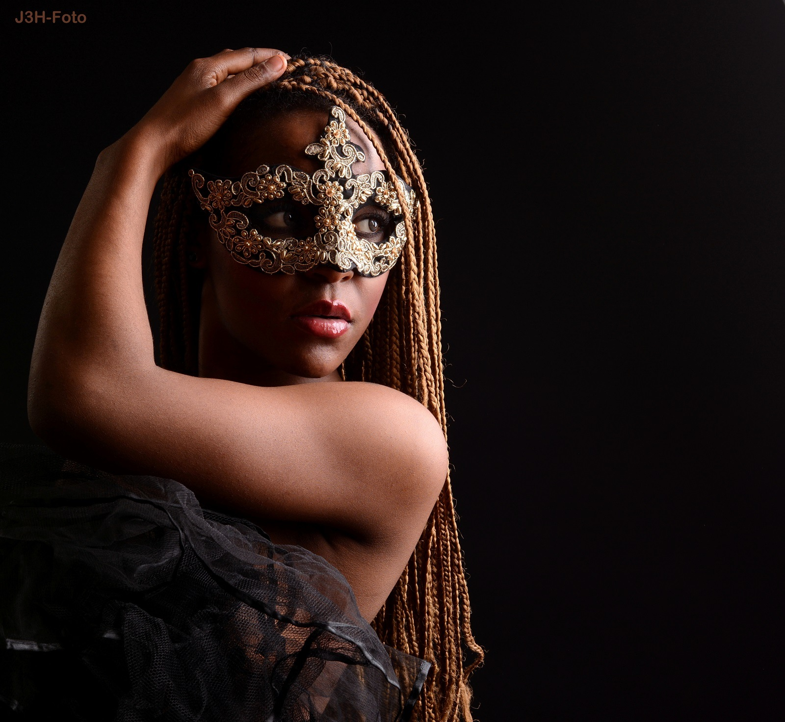 Photo in People #female #beauty #model #woman #mask #portrait #low #key #brown #eyes #long #hair