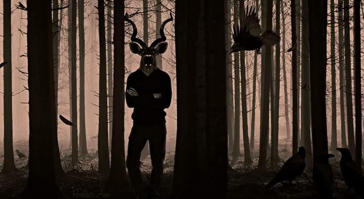 Photo in Random #art #deerman #deer #man #ravens #woods
