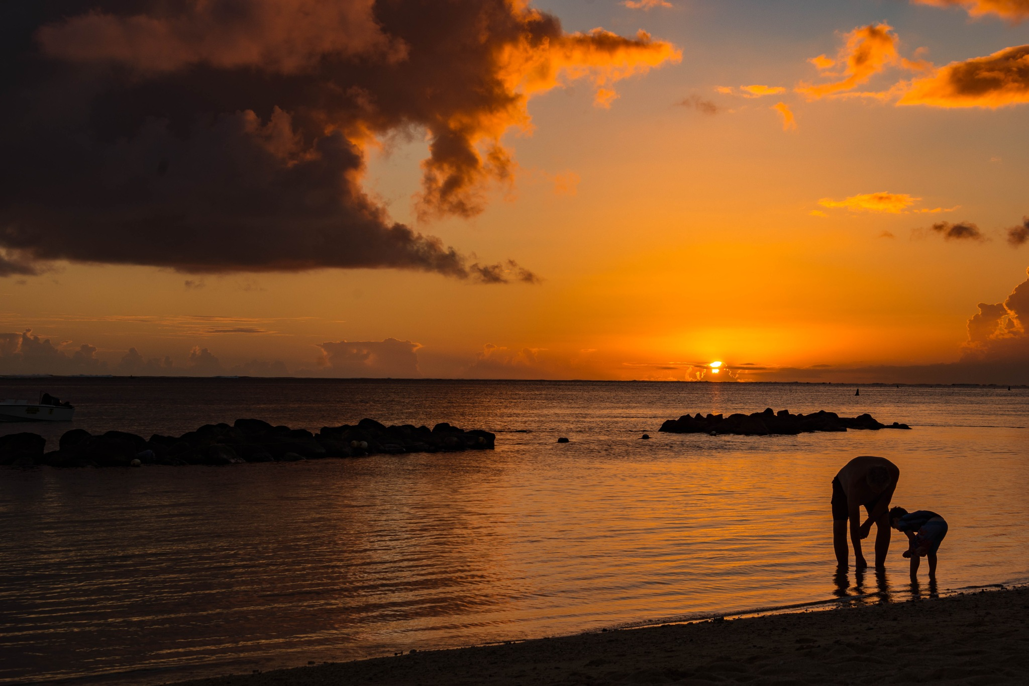 Sunset on beach by Saba Safdar