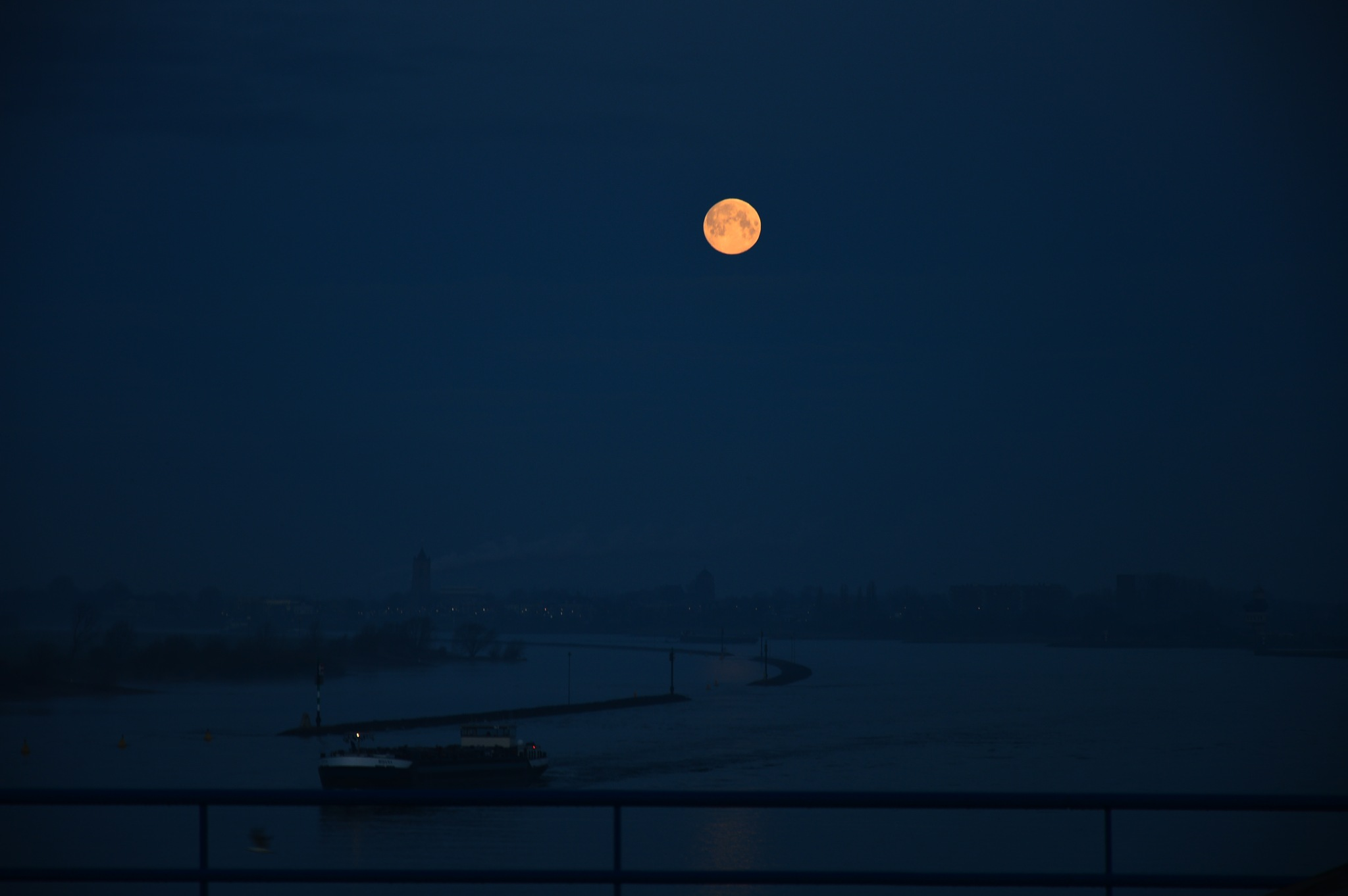 Moon above river by Roanne Frerejean