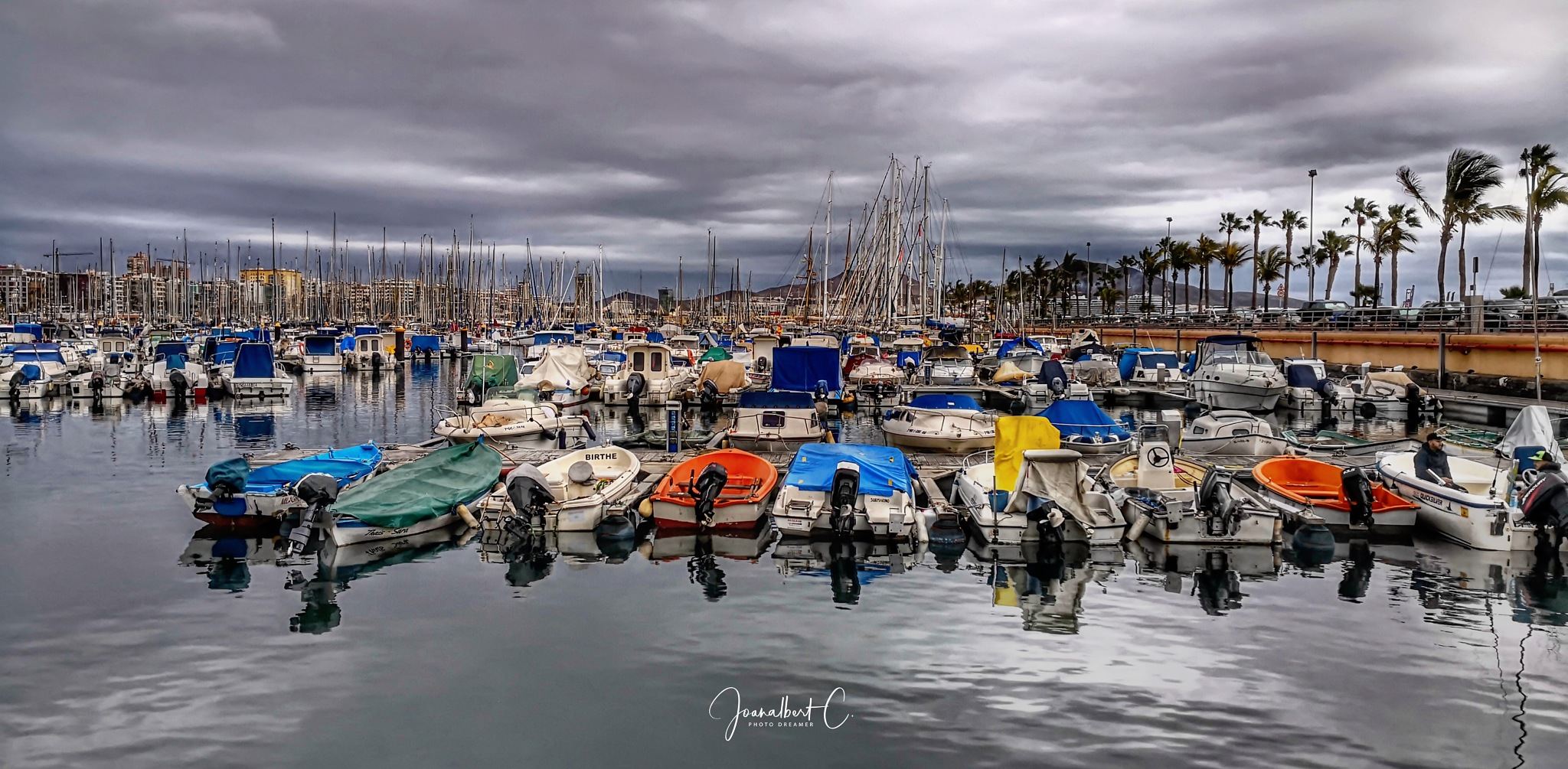 Photo in Travel #boats #harbour #docks #ocean #clouds #palmtrees #winter #gran canaria #canarias #macaronesia