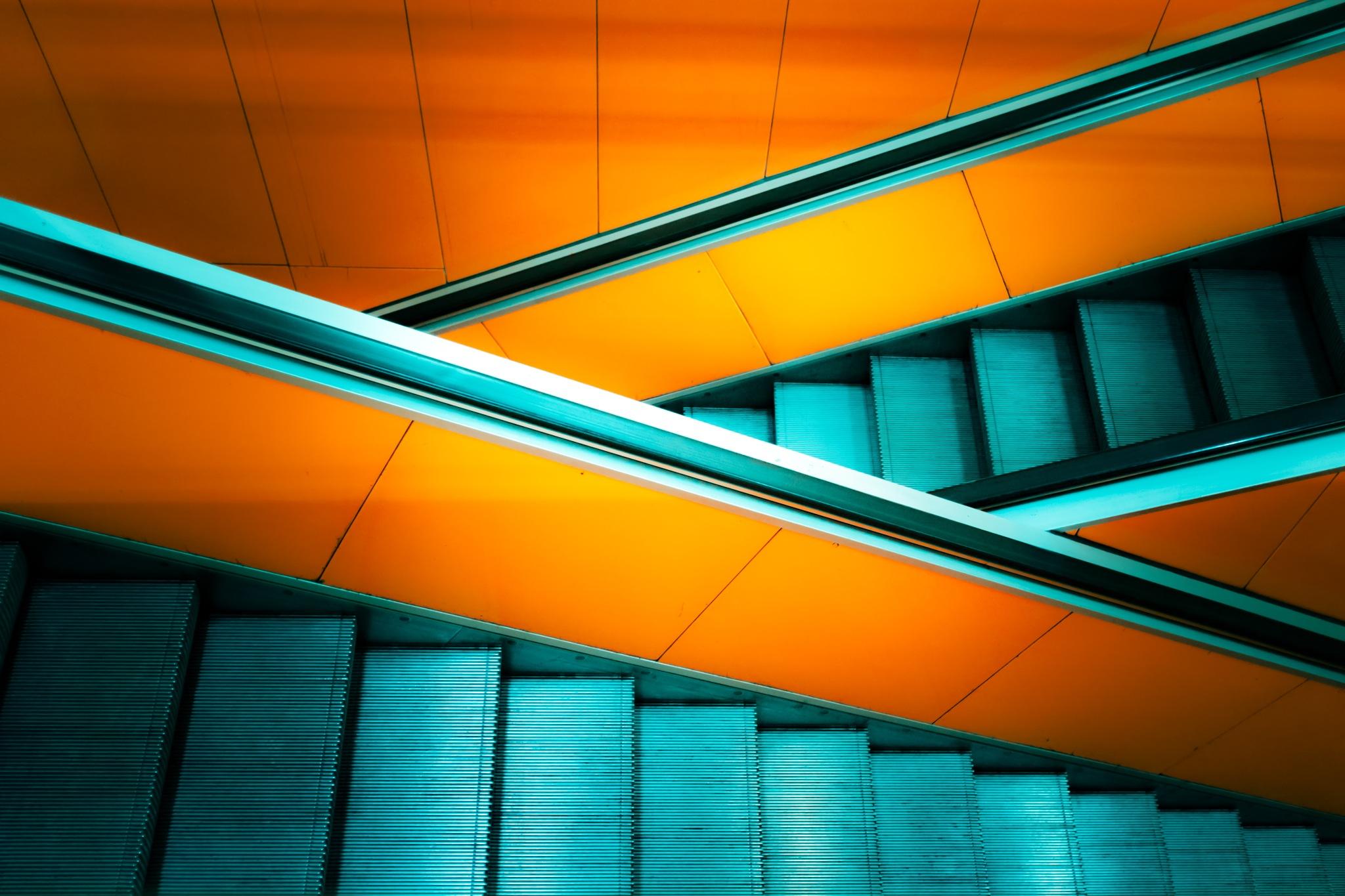 Orange an Teal Escalator by André Eikmeyer