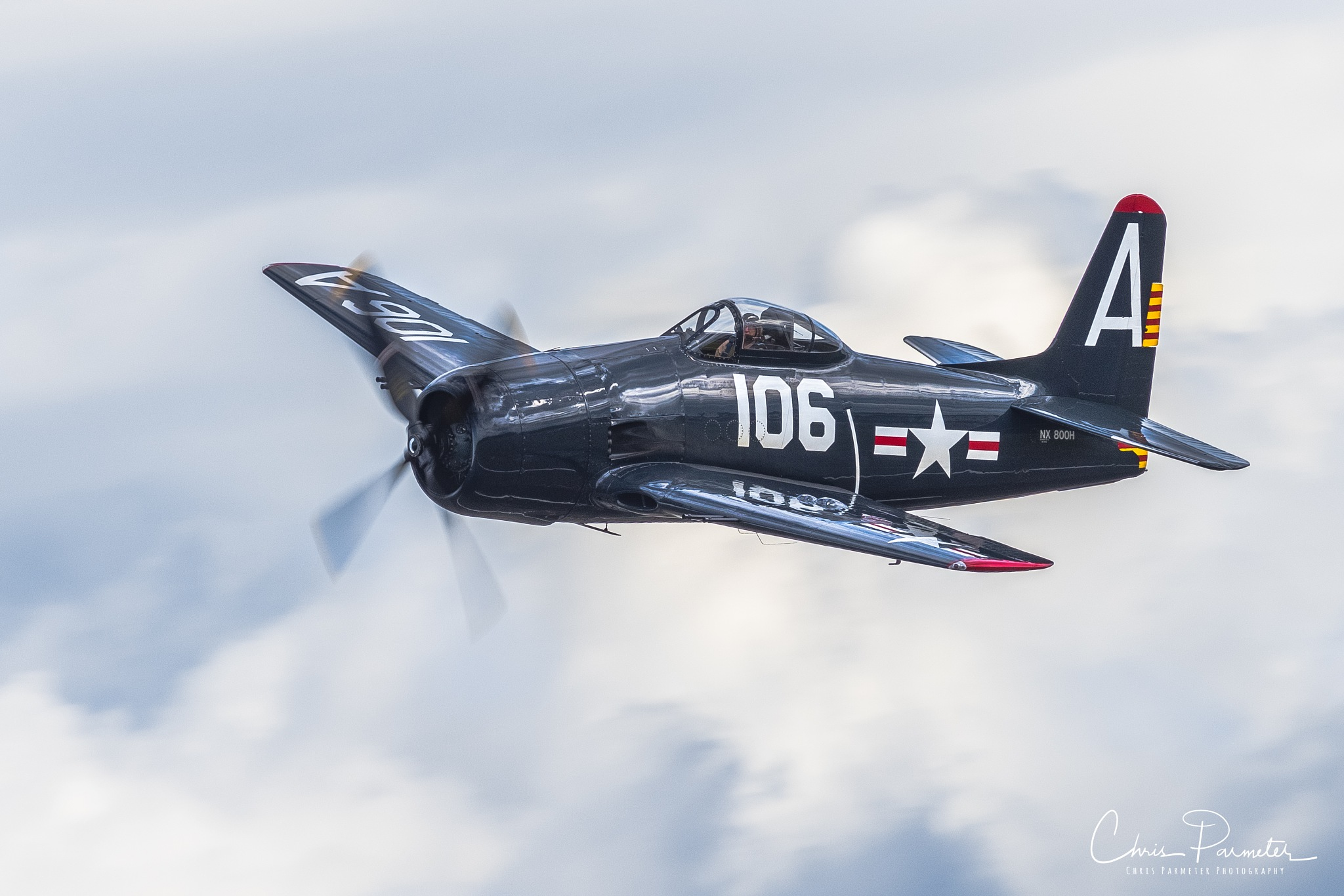 Photo in Vehicle #f8f #grumman #bearcat #fighter #airplane #flying #vintage #sky #clouds