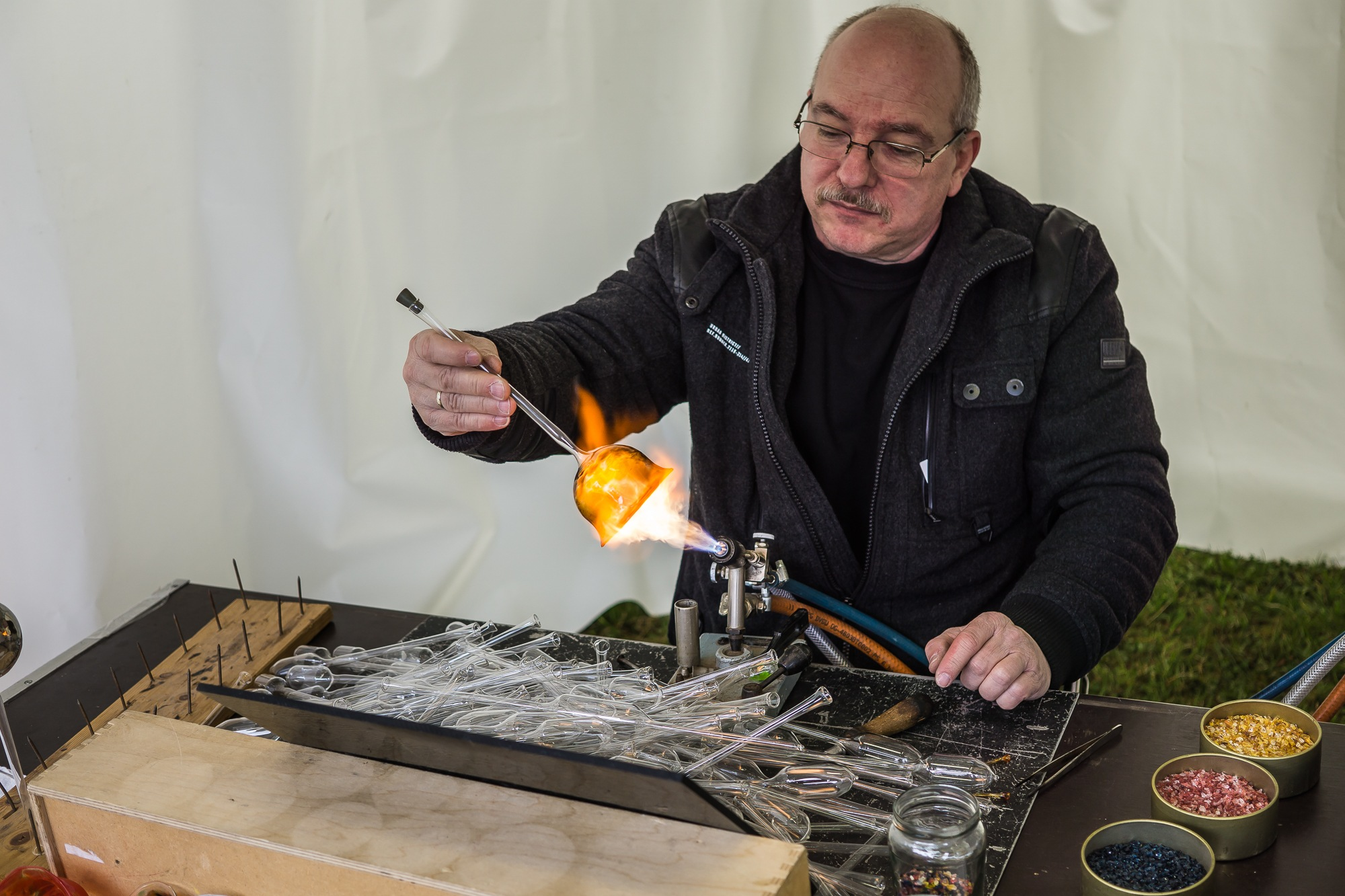 Glassblower at work by Peter Buck