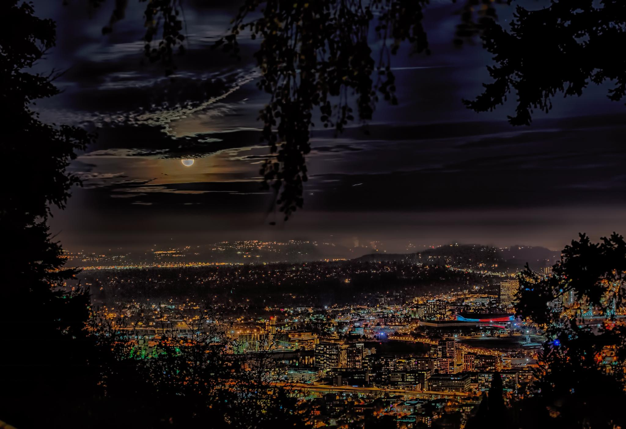 Moonrise Portland Oregon by Geoffrey Squier Silver
