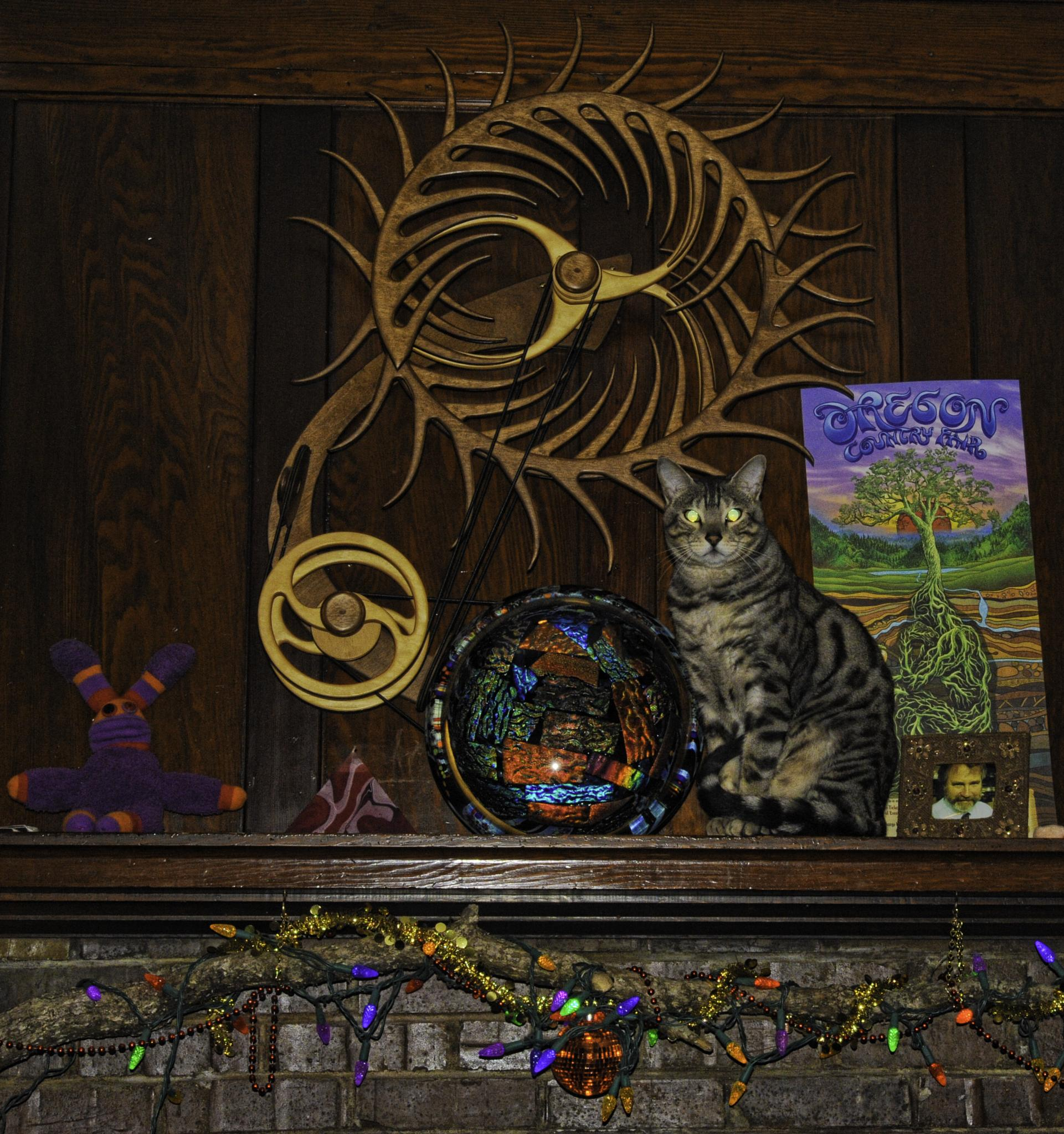 Bengal Cat on Mantle by Geoffrey Squier Silver