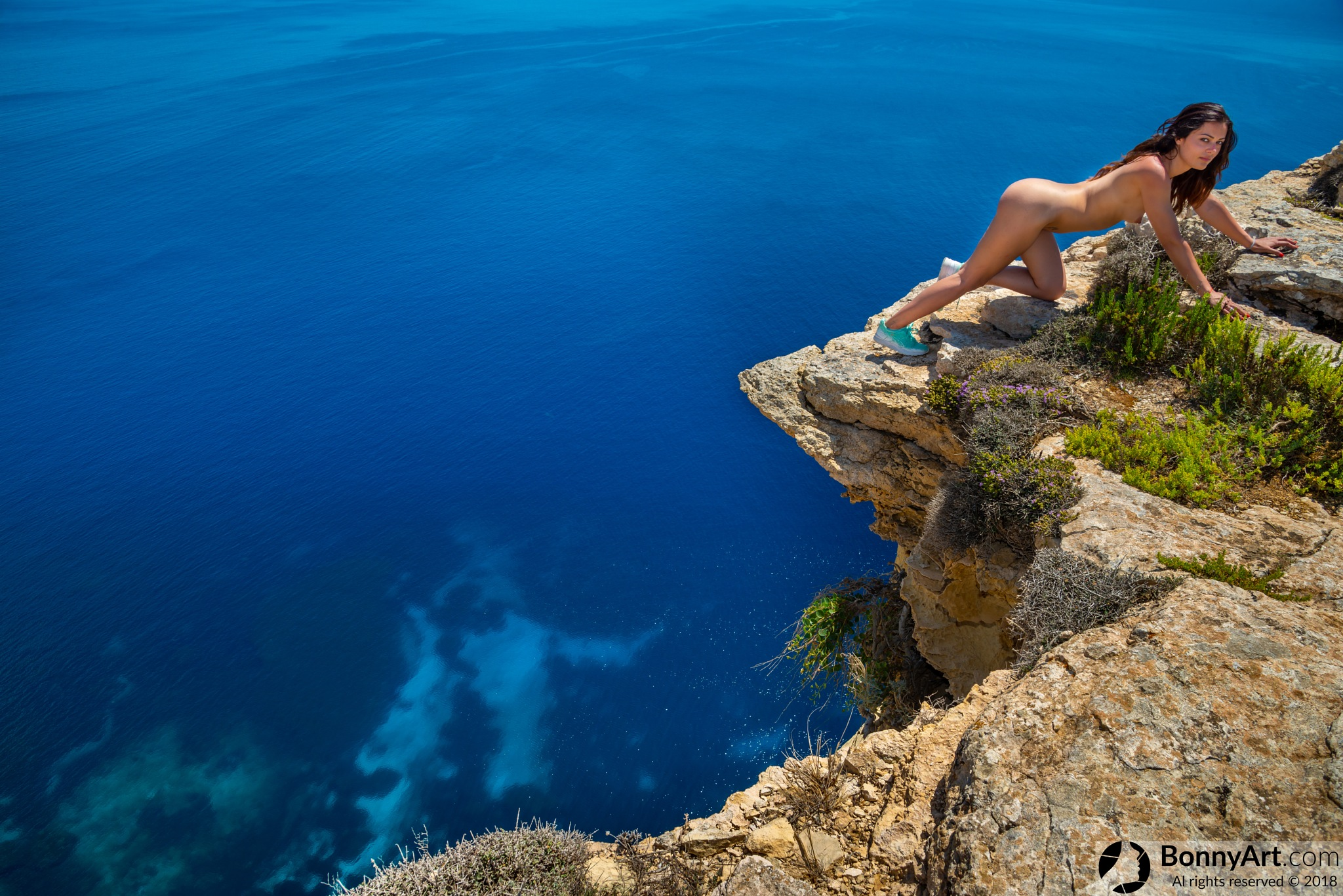 Photo in Nude #nude #girl #female #workout #sport #naked #nudity #sexy #landscape #edge #cliff #seaside #vacation