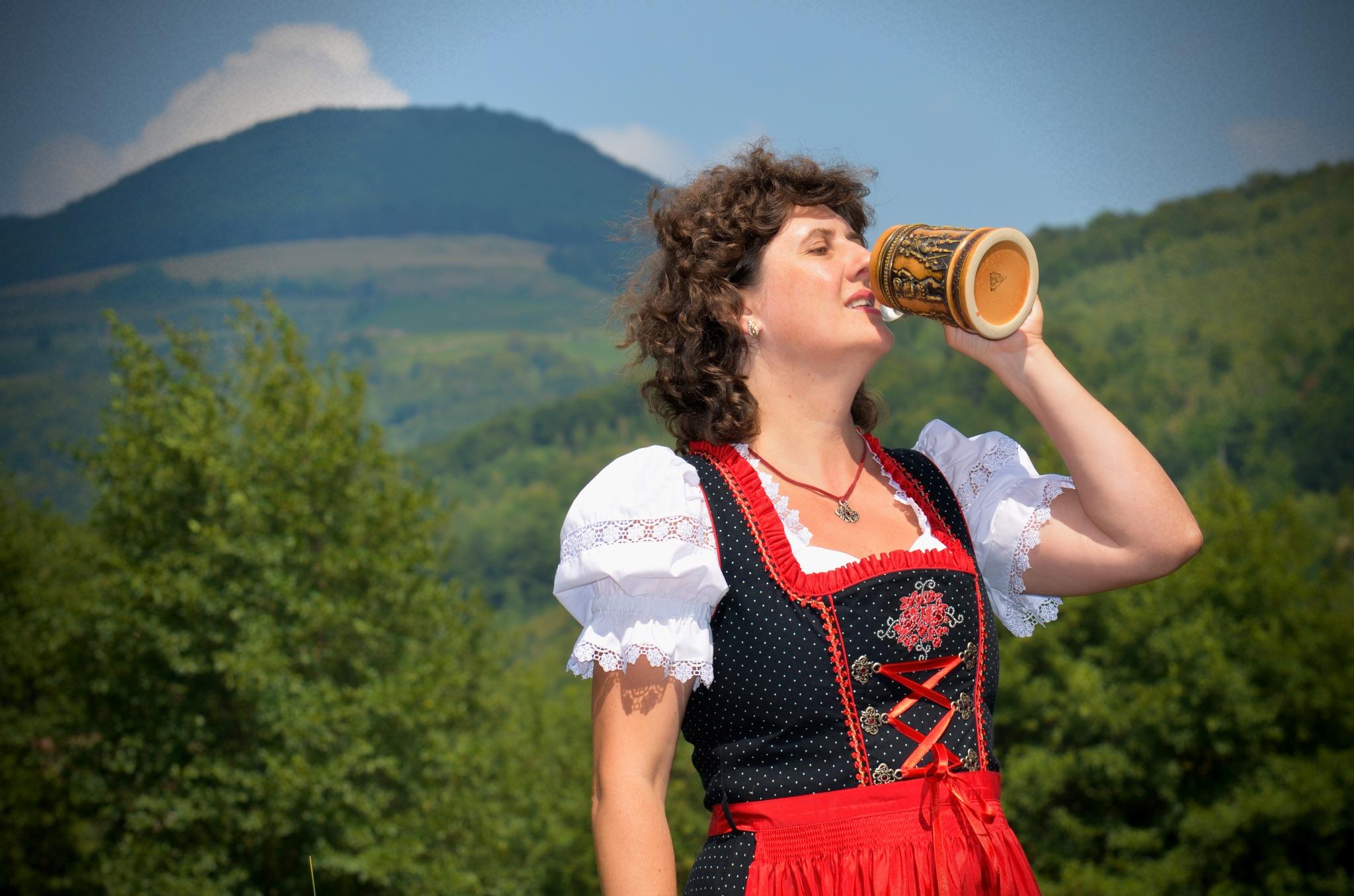 Enjoying the beer like a Bavarian lady by Z_e_n_o