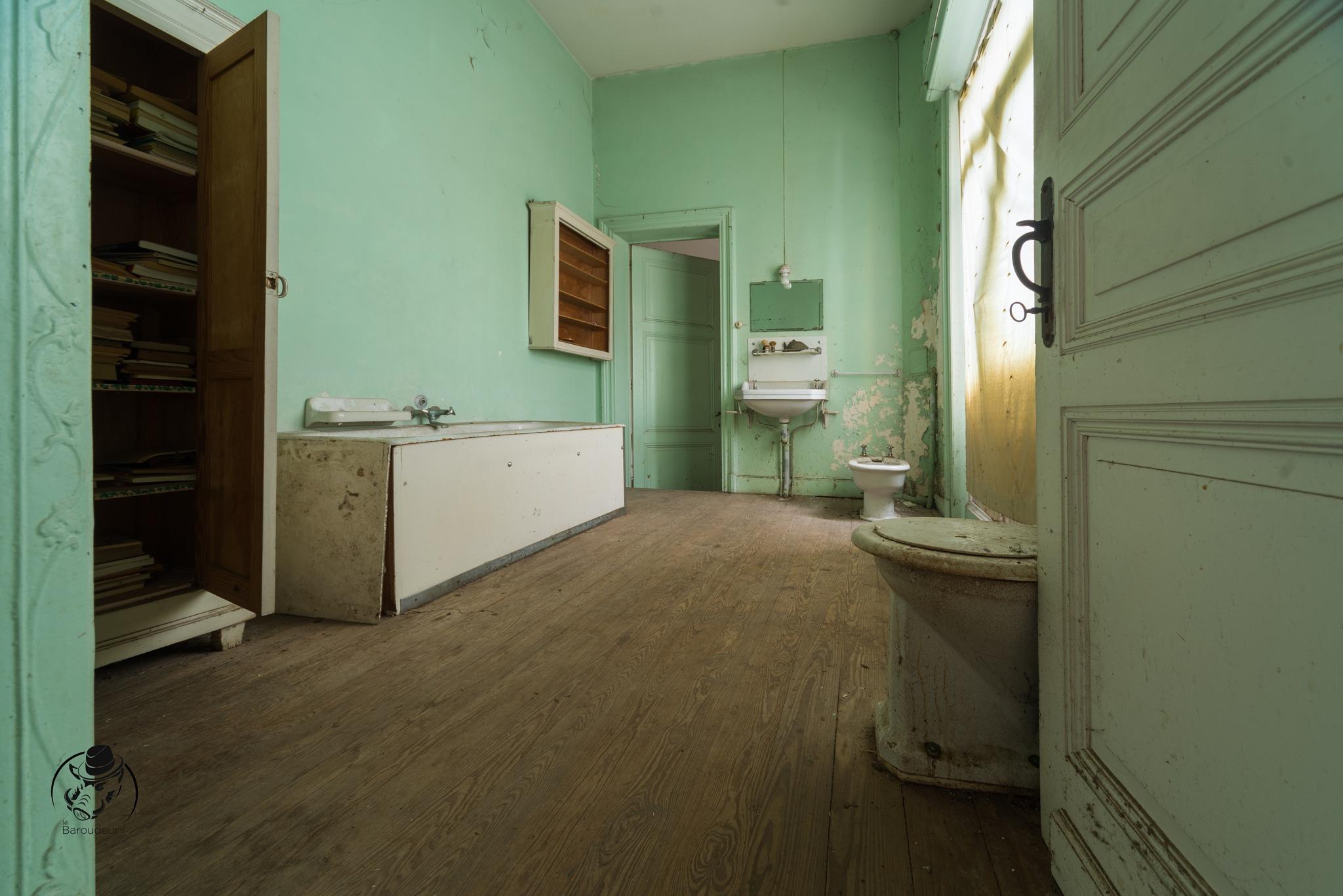 La salle de bain verte du manoir aux portraits by Le Baroudeur