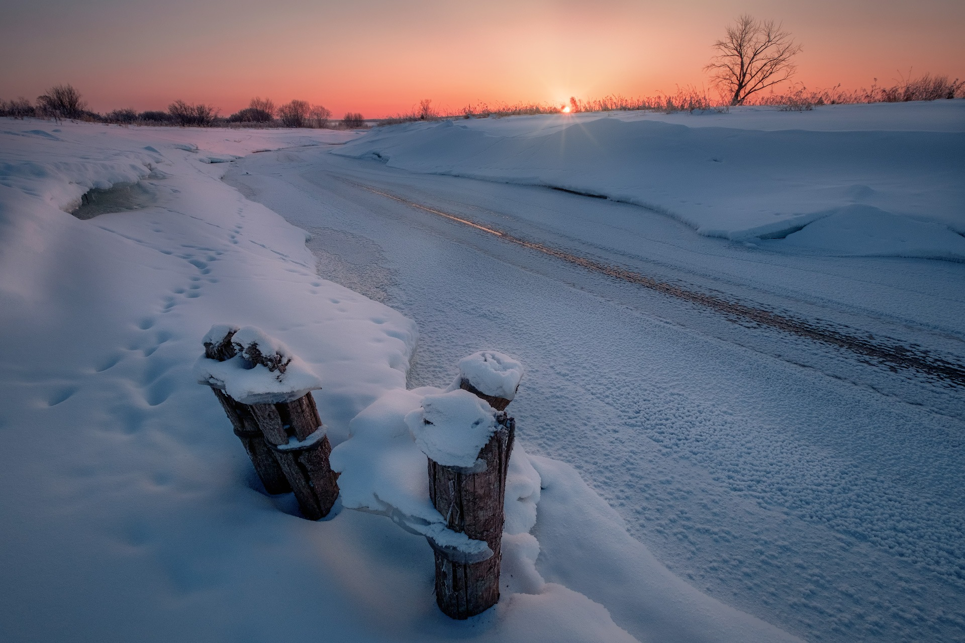 Usolka river in February by Andrey Chizh