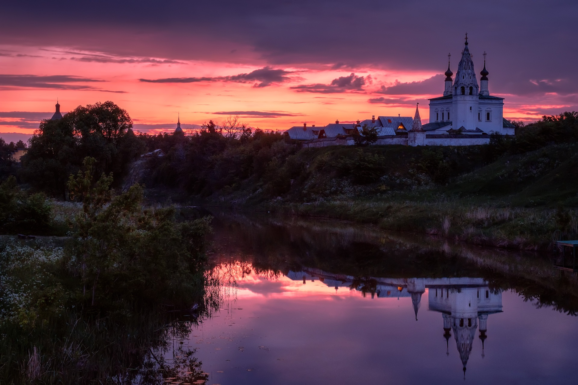 Dawn behind the monastery by Andrey Chizh