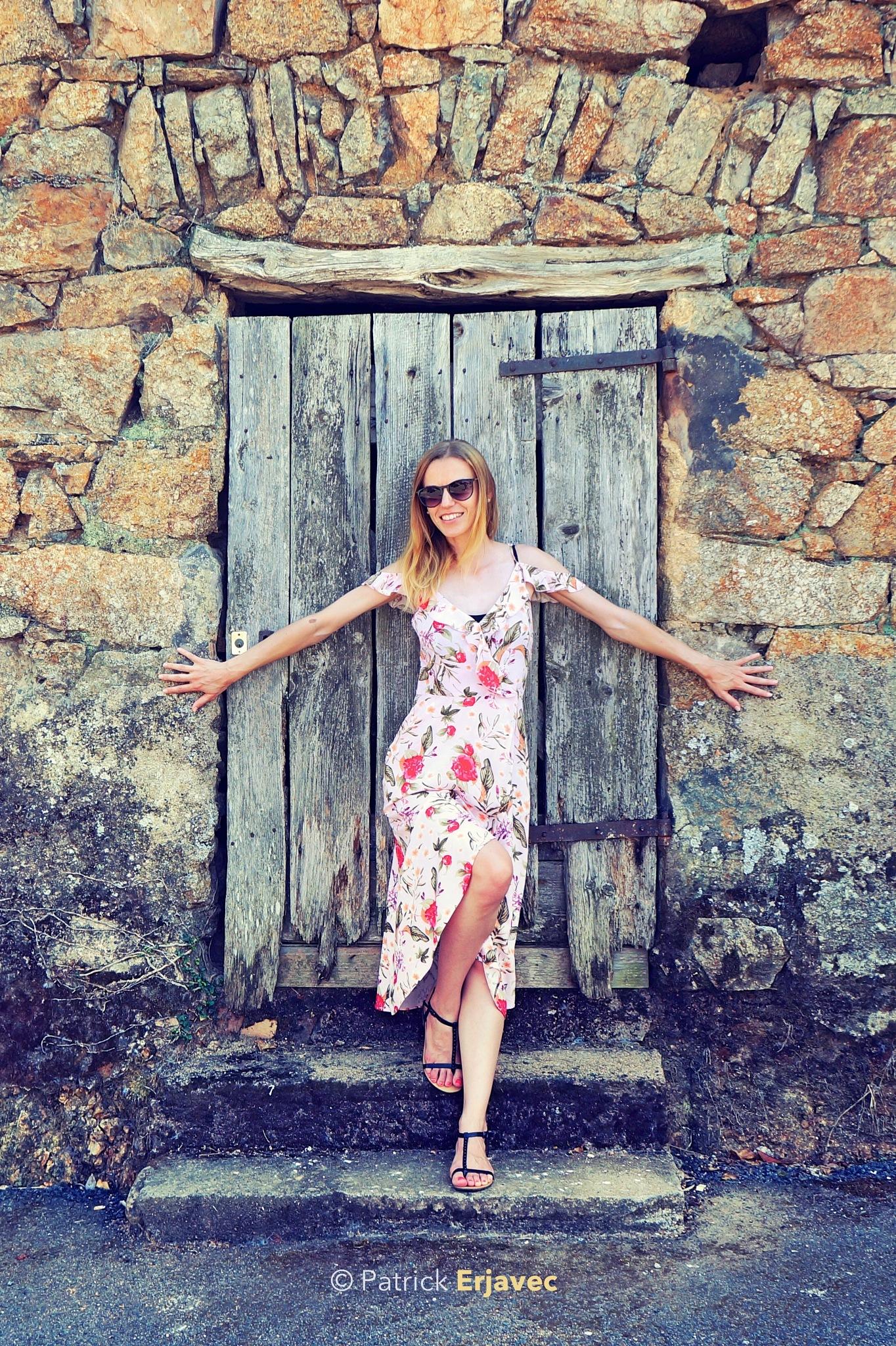 Photo in People #portrait #door #wall #bricks #brick #stairs #dress #female #woman #girl #posing #sunglasses #fashion #hair