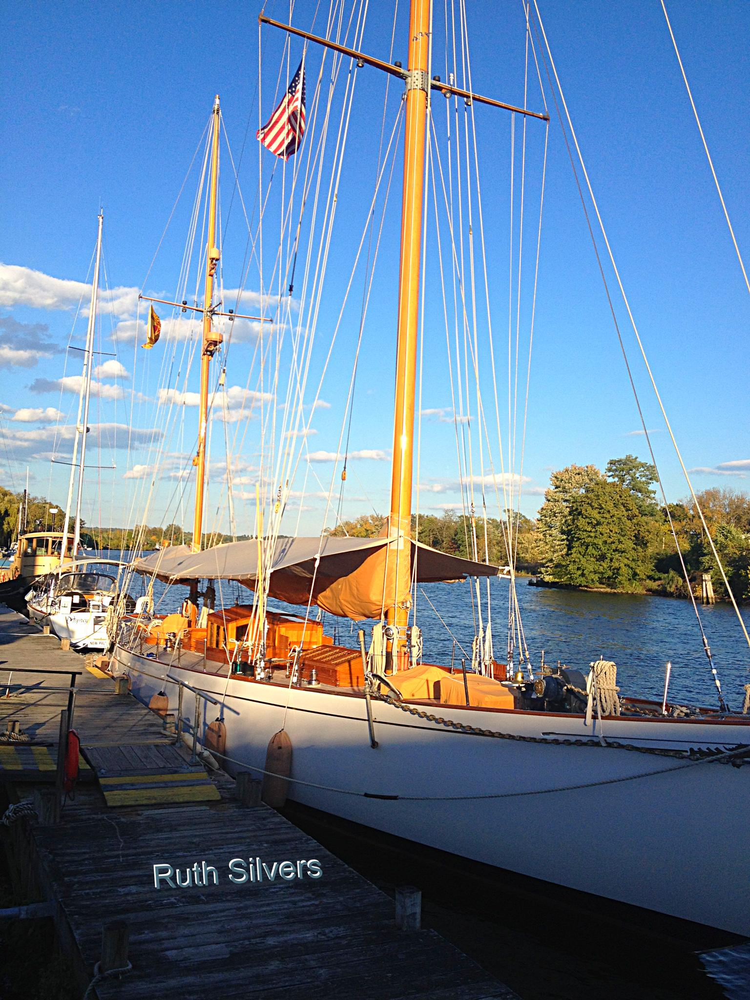 Sailboat on the docks by Ruth Silvers