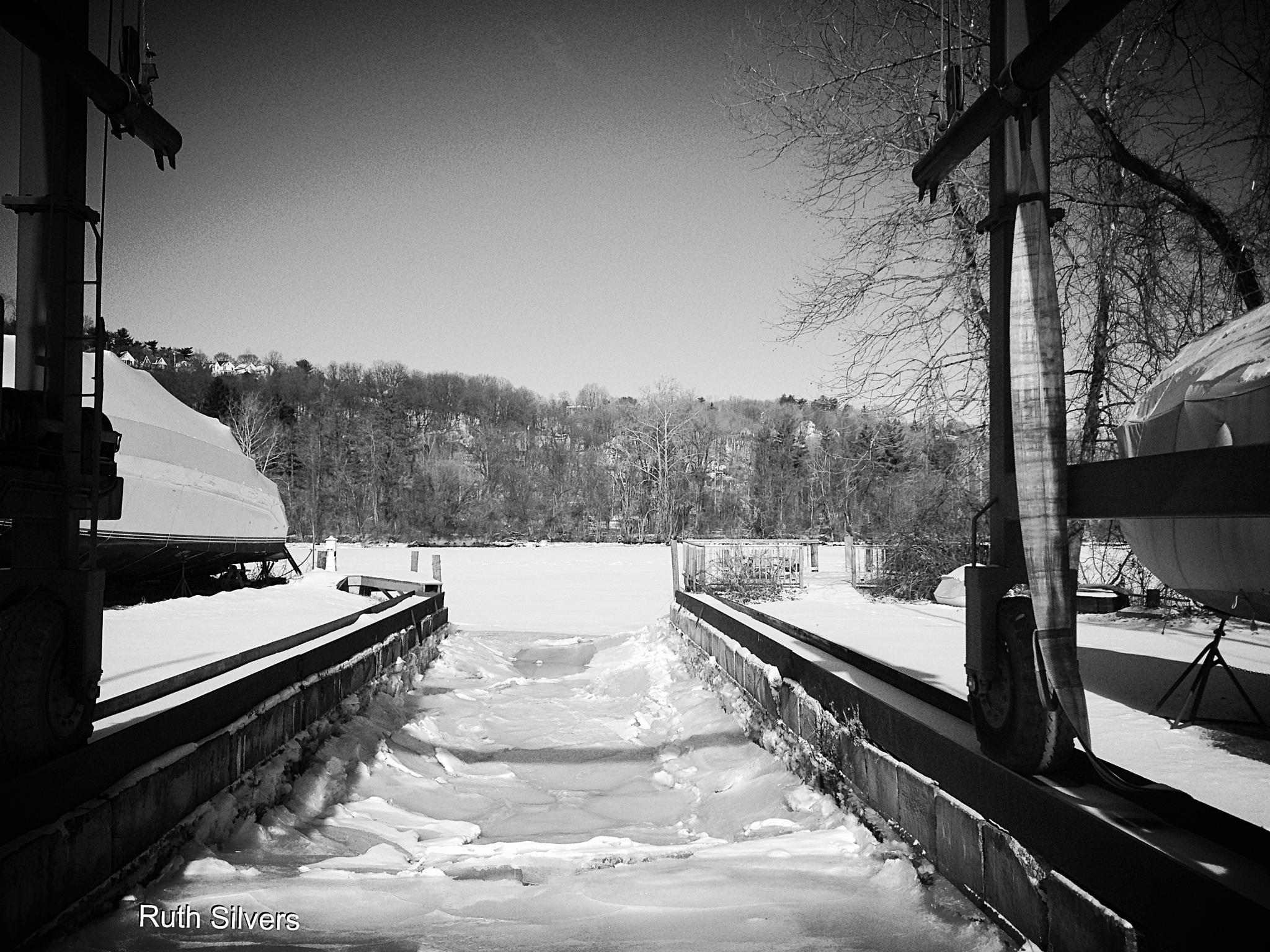 Winter at the boatyard by Ruth Silvers