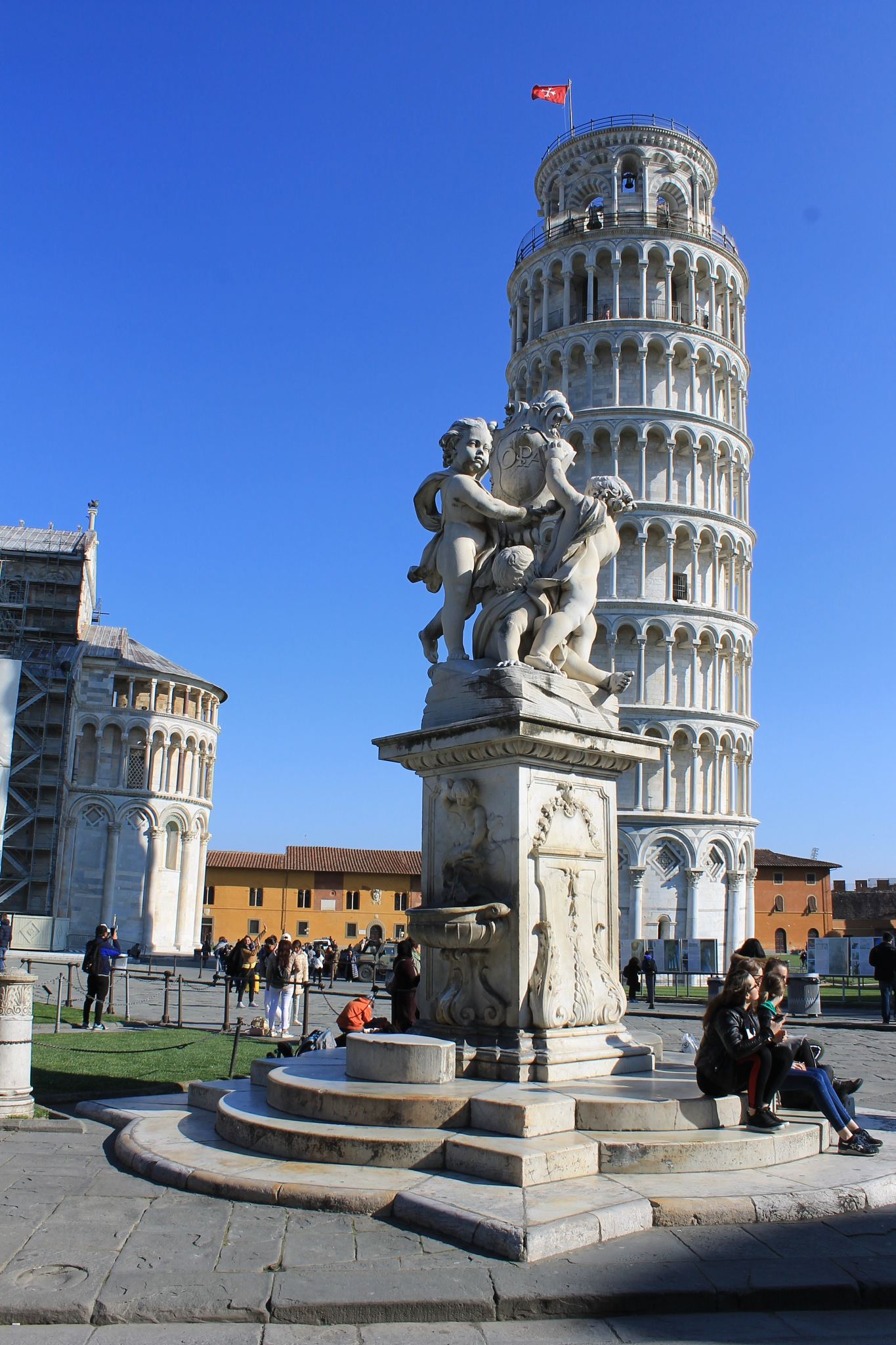 Statue and tower of Pisa by Clelia Sardu