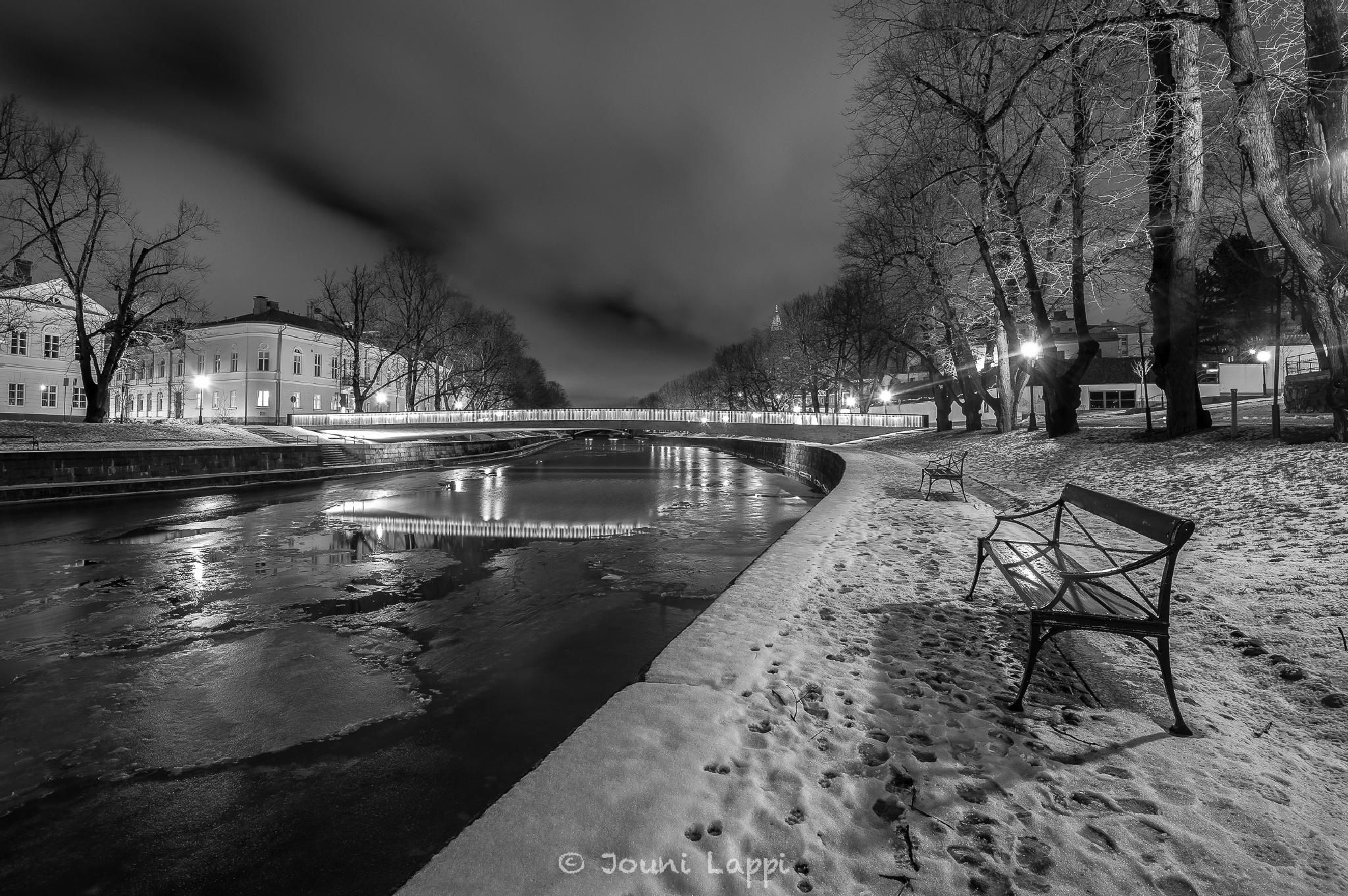 The river Aura and the Library bridge by night by Jouni Lappi