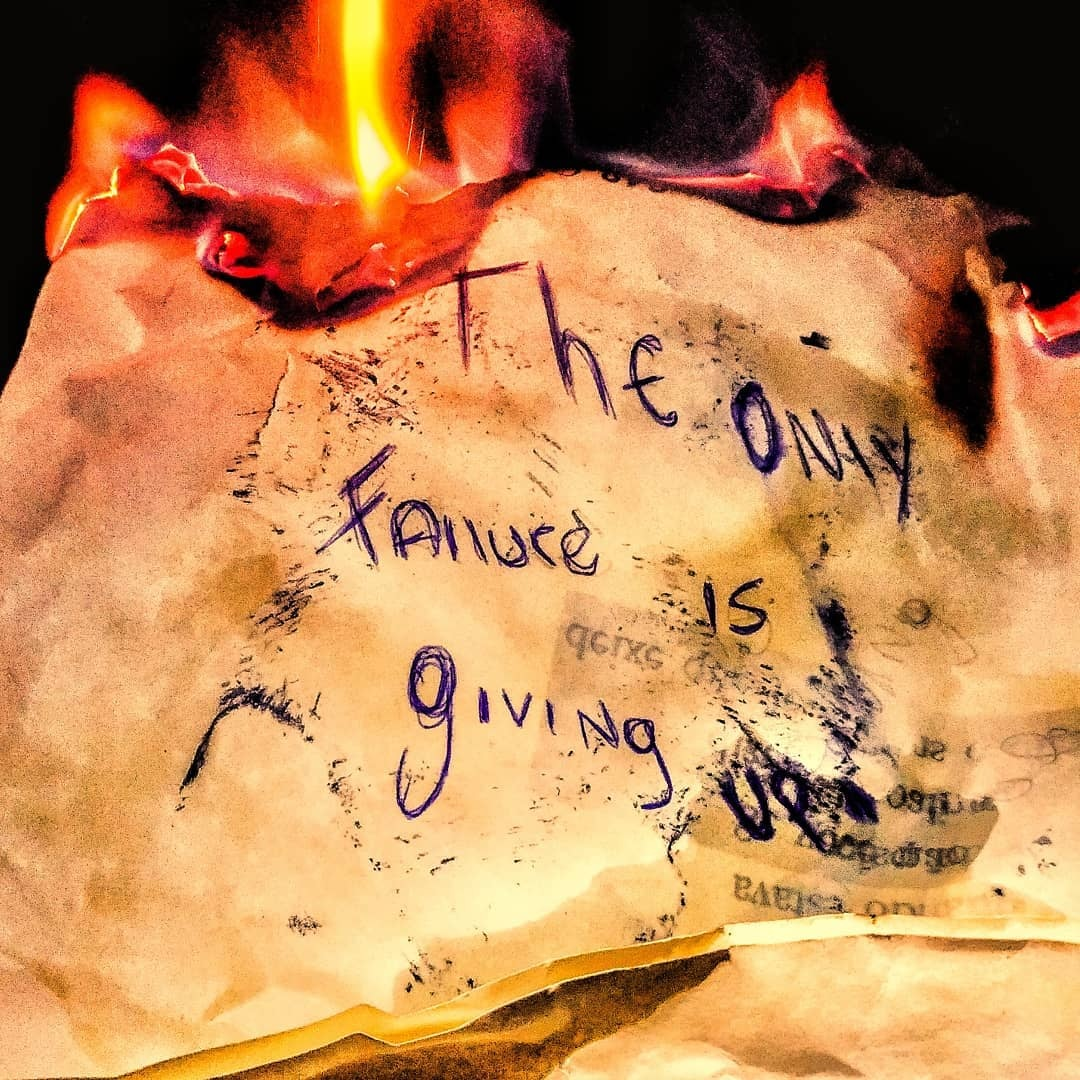The only failure is giving up.  by @parallel_tangency