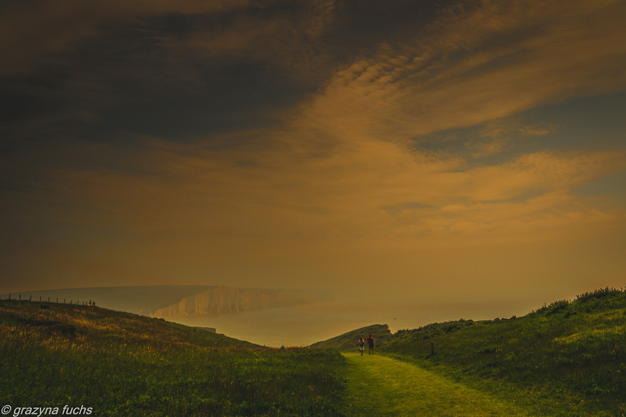 walking to Seven Sisters Cliffs by Grażyna Fuchs