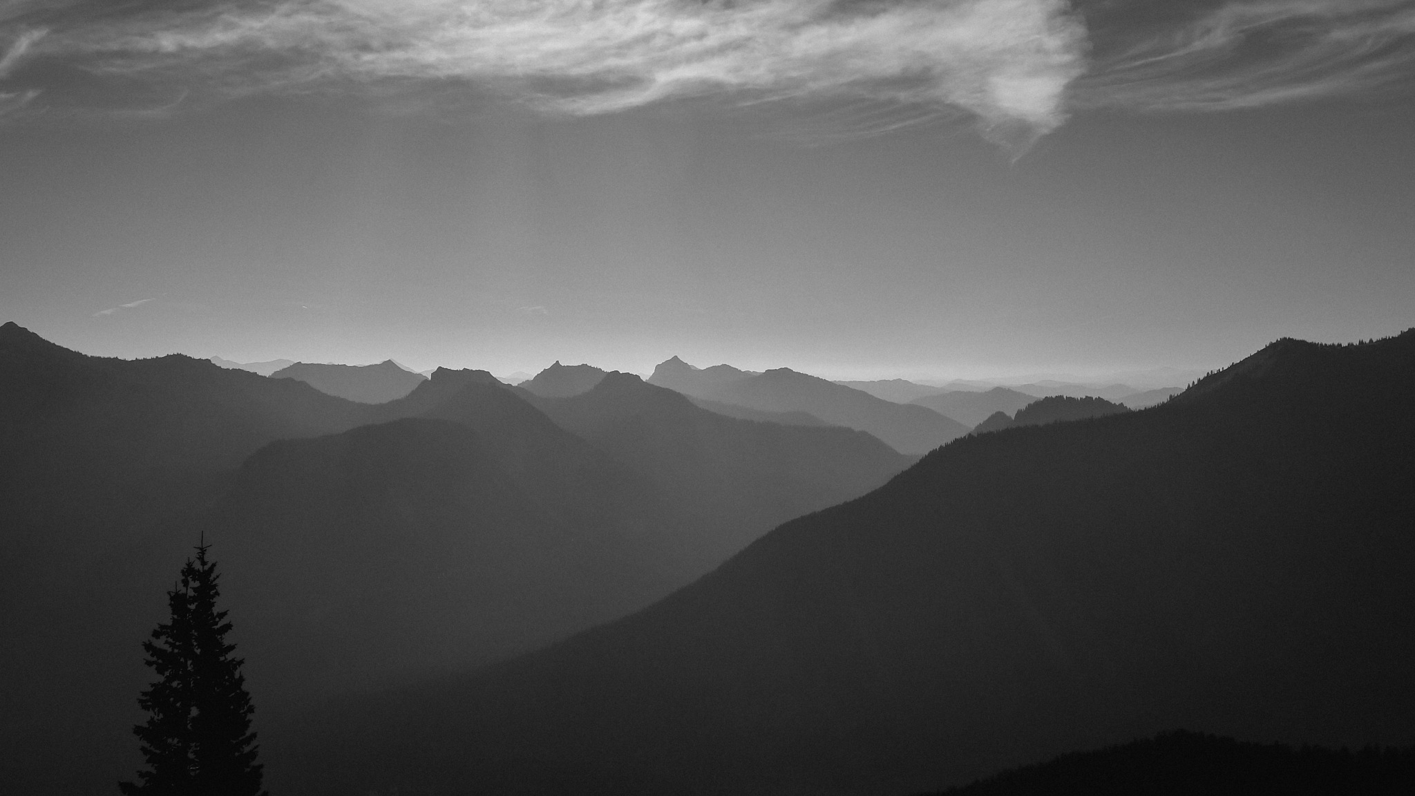 Photo in Black and White #honestfeedback #b&w #mountains #sky #distance #tree #clouds #haze