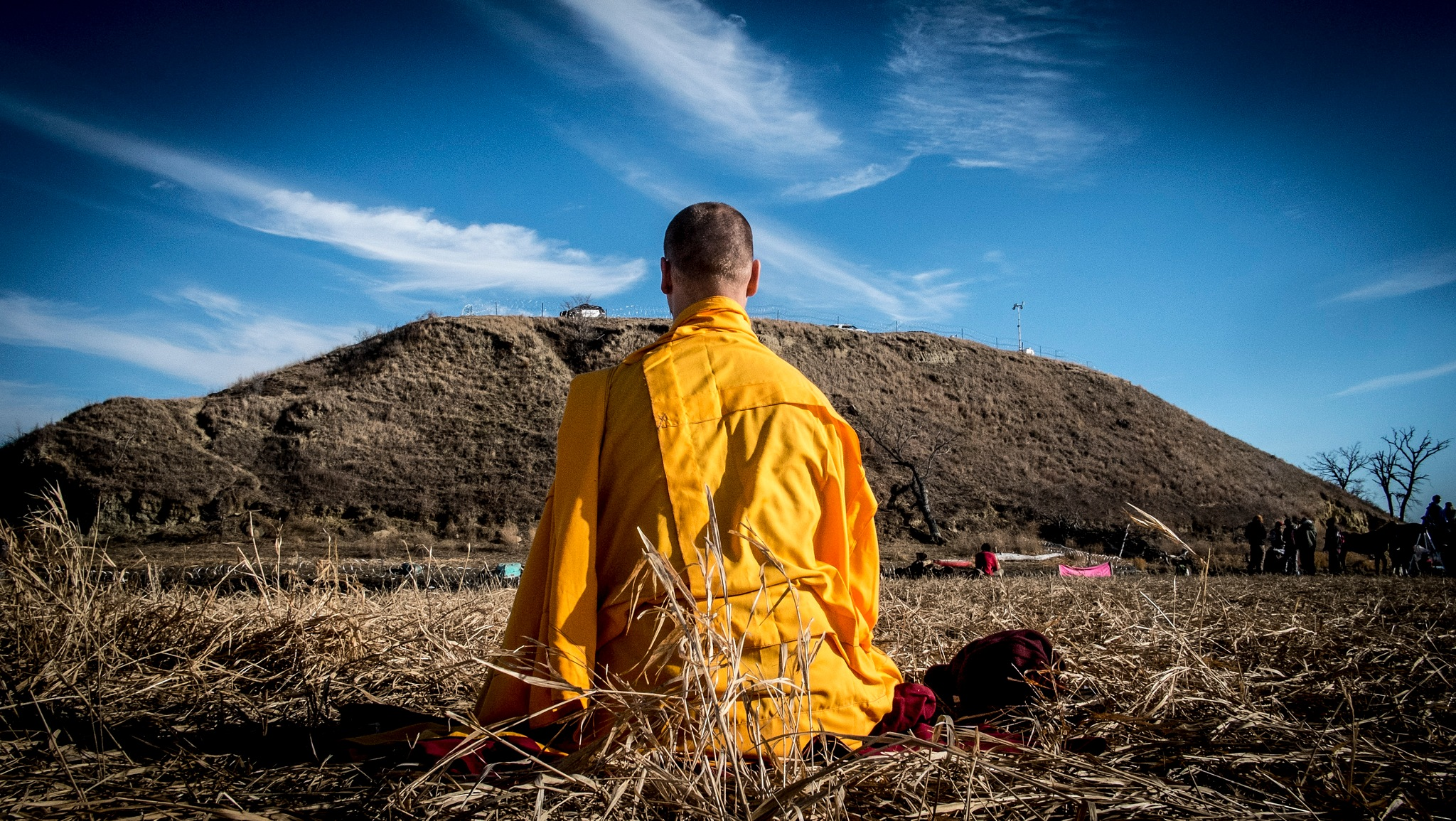 Lone Monk Water Protector #NoDAPL  by Dave Banks