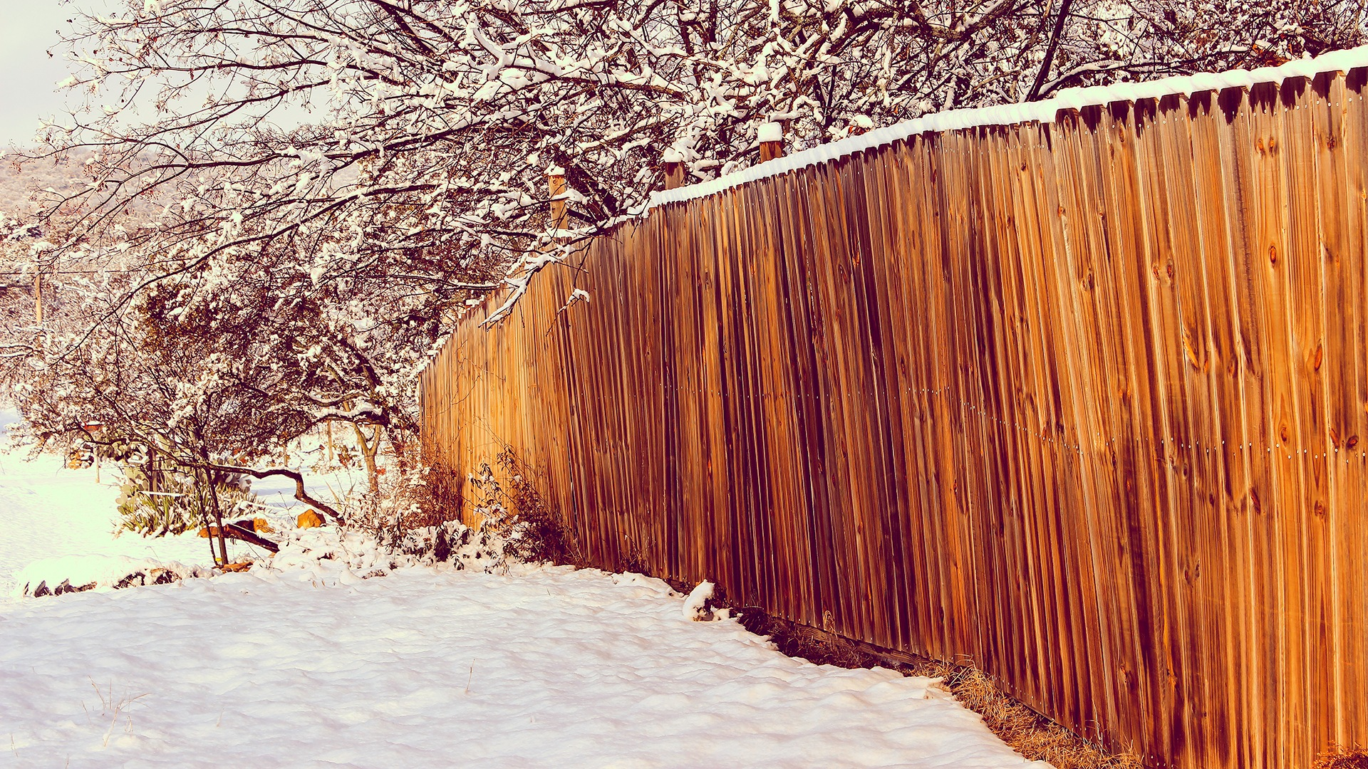 Wooden Fence in Snow by Lane L Gibson
