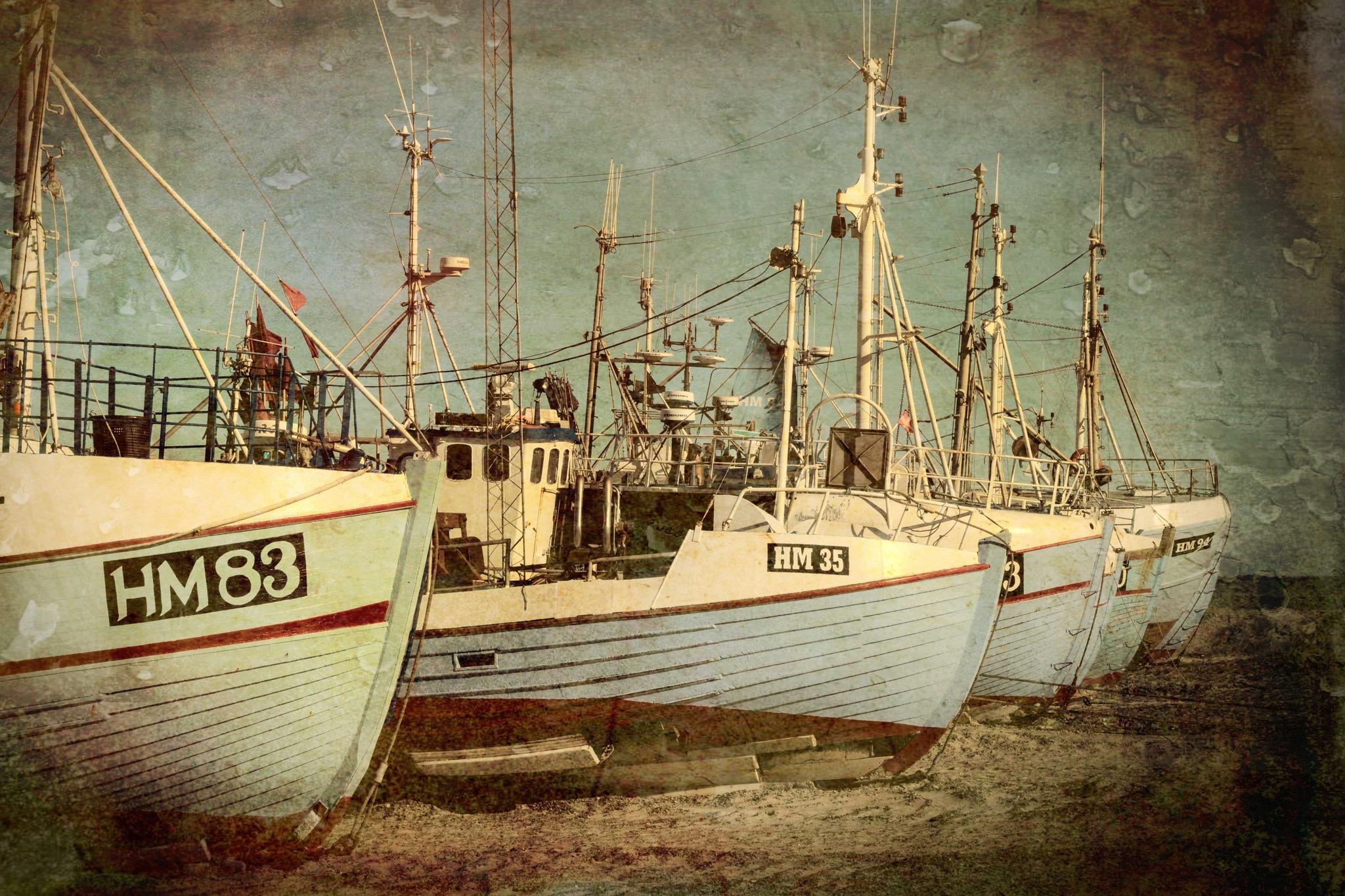 Old fishingboats by Preben Schmidt