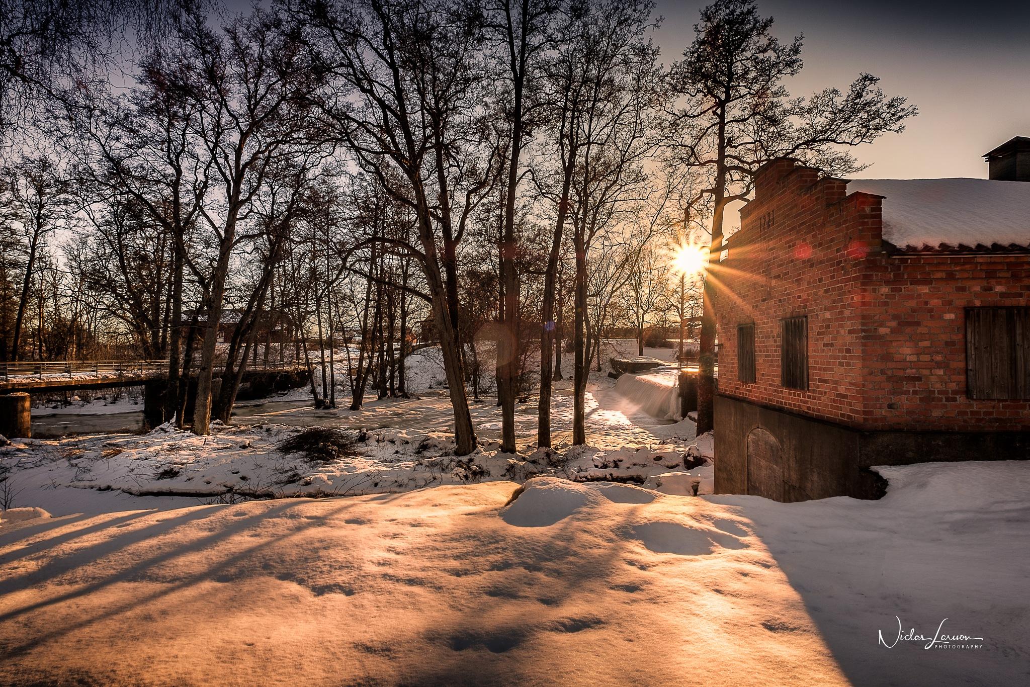 Winter Sunset Waterfall by Niclas Larsson