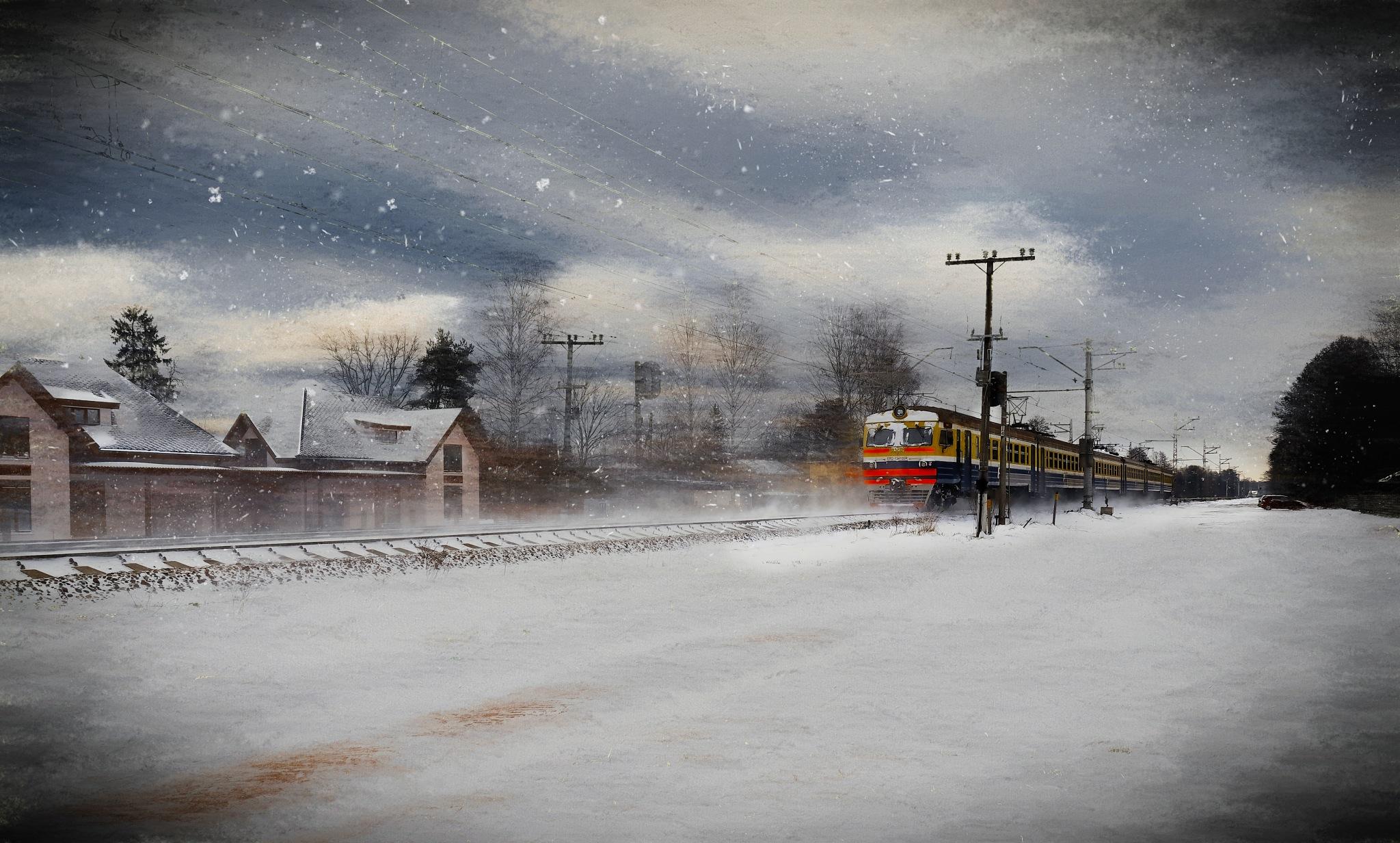 Snowy Train...Jurmala,Latvia  by Aleksandrs Drozdovs