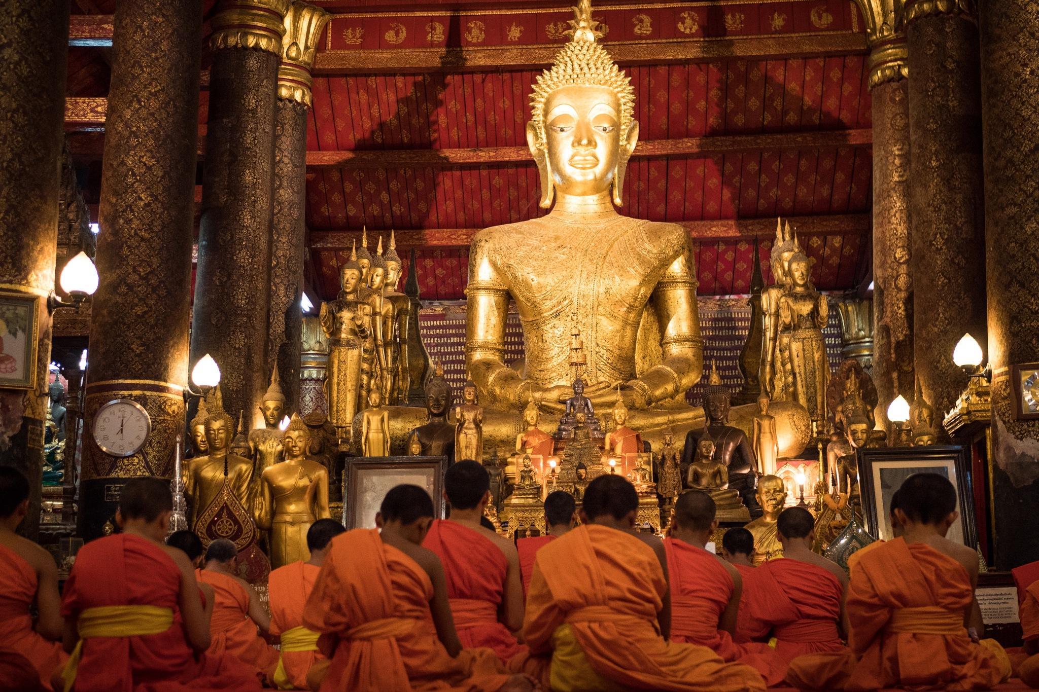 Monks Laos by Alex Steger