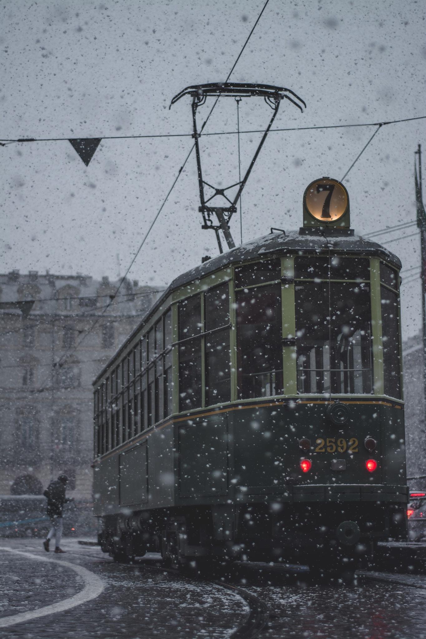 Tram in a snow storm by Gabriele Peretti