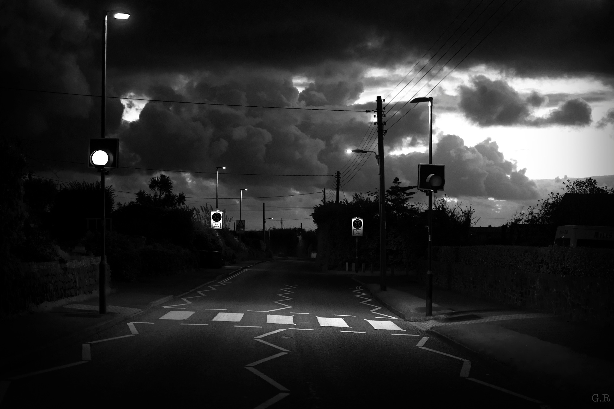 empty roads on stormy days by George Rayner
