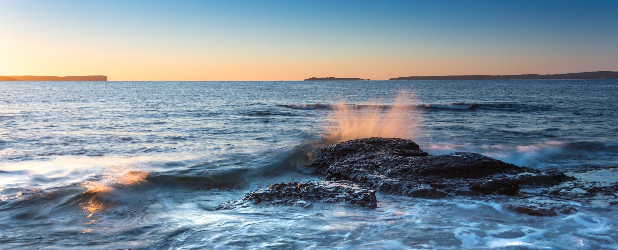 Photo in Landscape #waves #ocean #sea #sunrise #jervisbay #water #rocks #landscape #cover